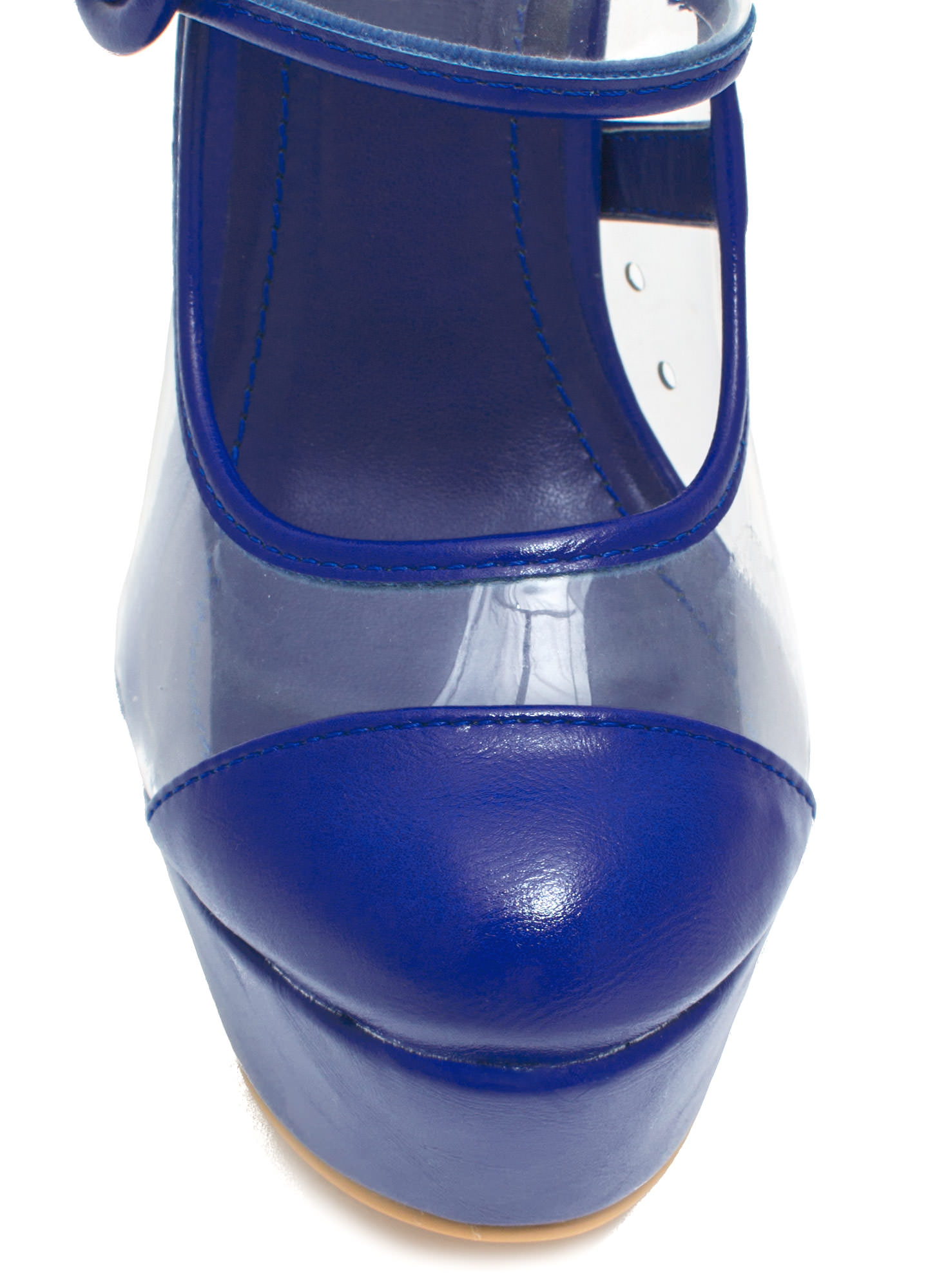 Clearly Mary Jane Round Buckle Platforms BLUE