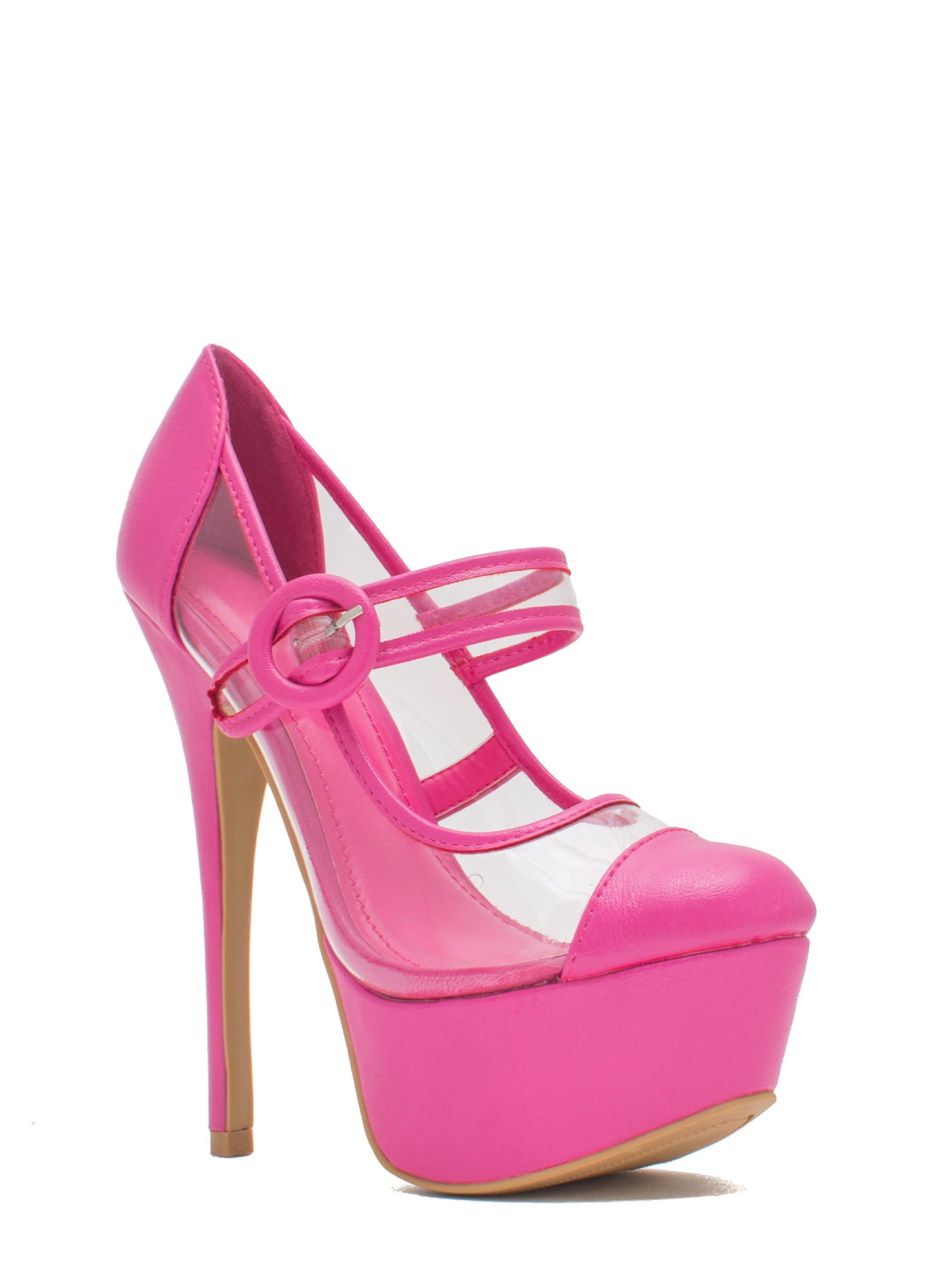 Clearly Mary Jane Round Buckle Platforms FUCHSIA