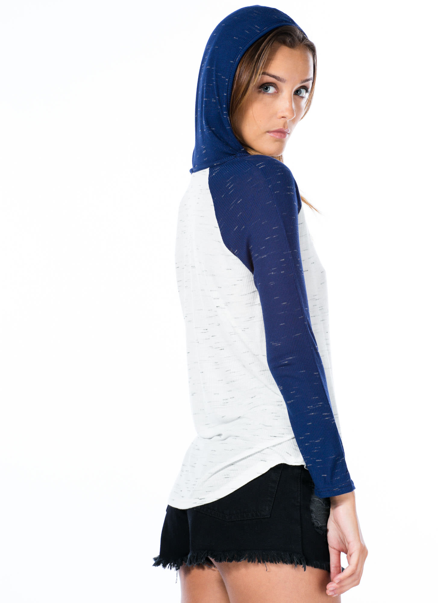 Raglan To Riches Hooded Top WHITENAVY