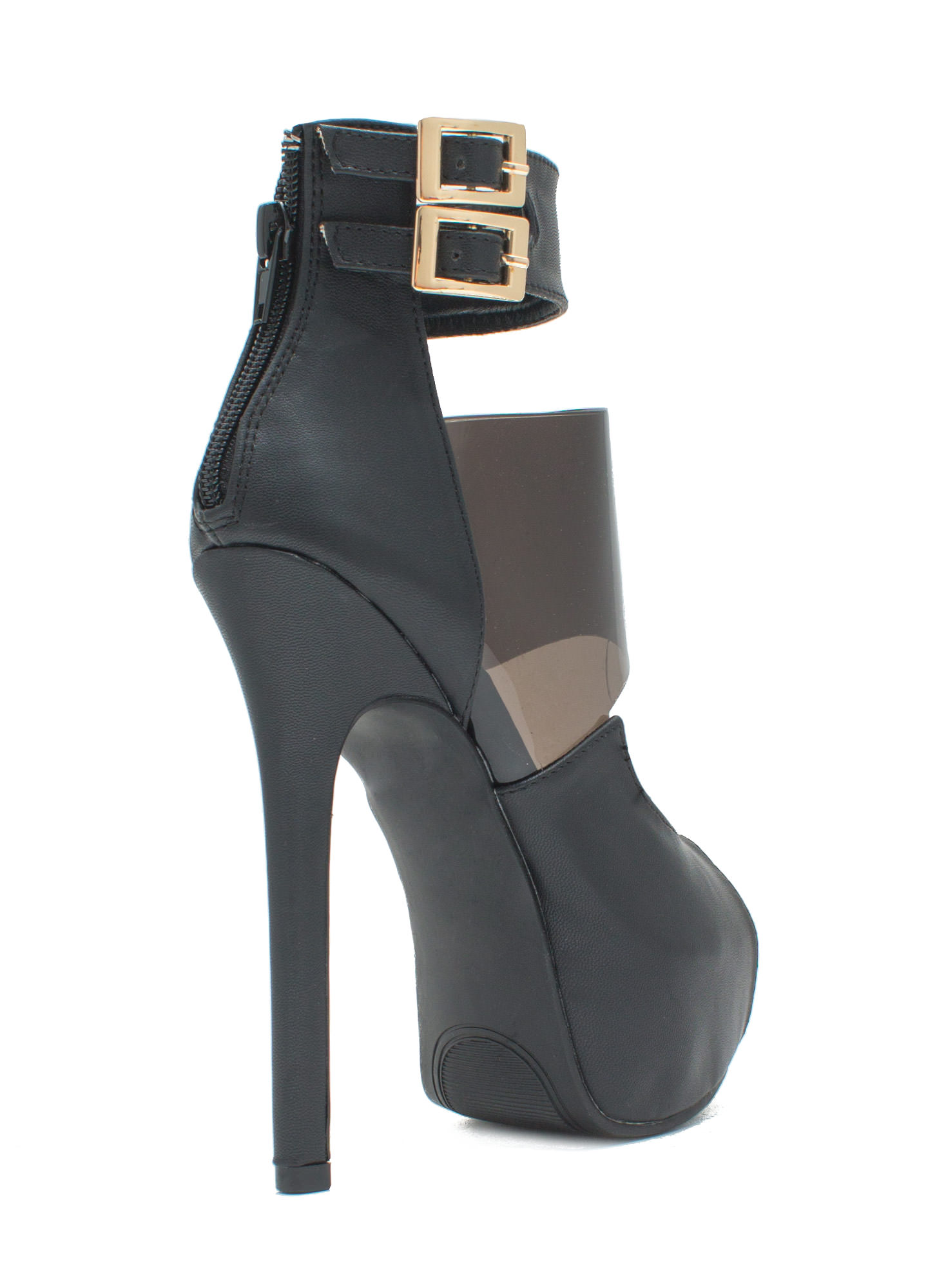 PVC You Soon In Peep-Toe Platforms BLACK