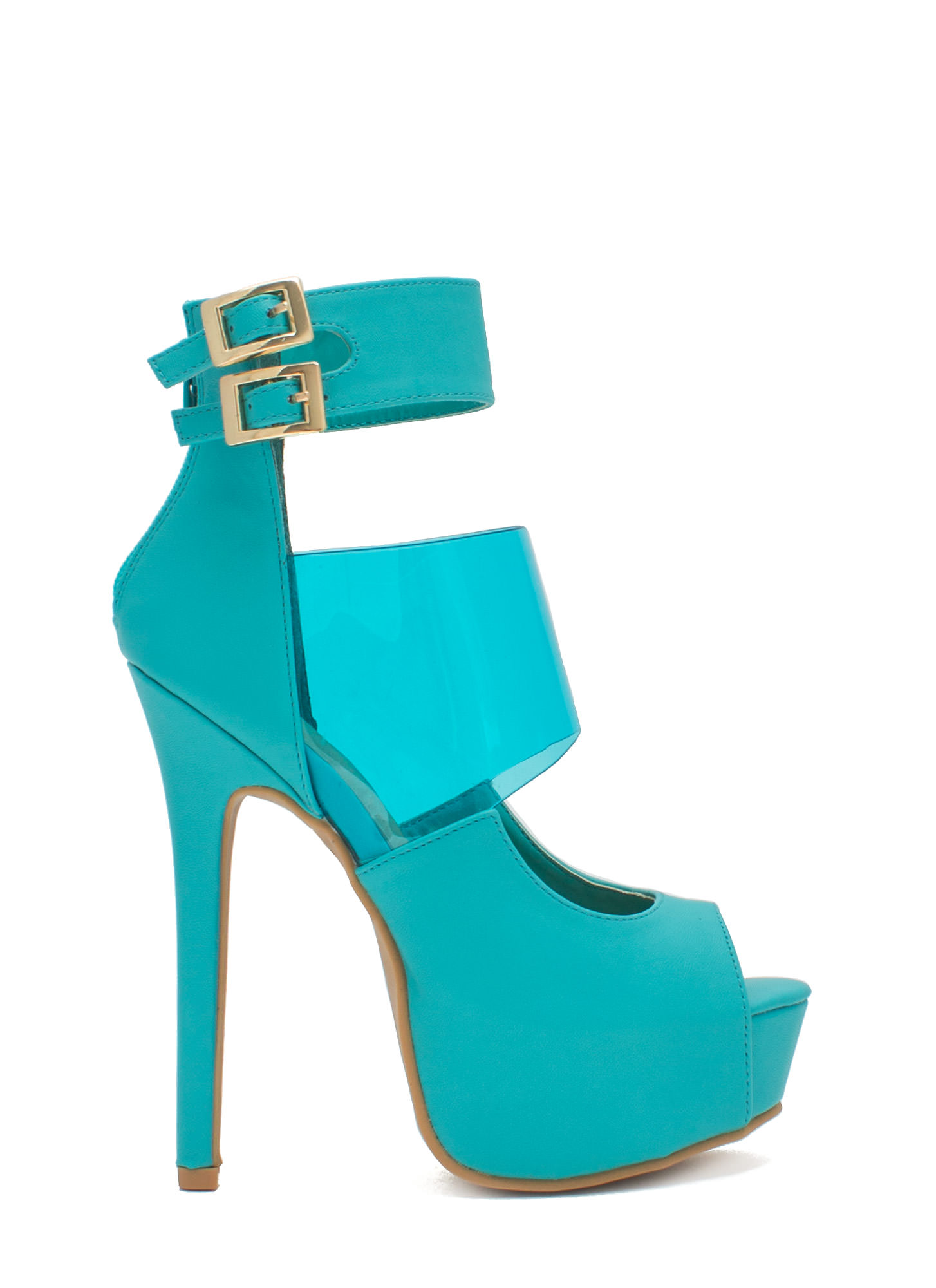 PVC You Soon In Peep-Toe Platforms BLUE