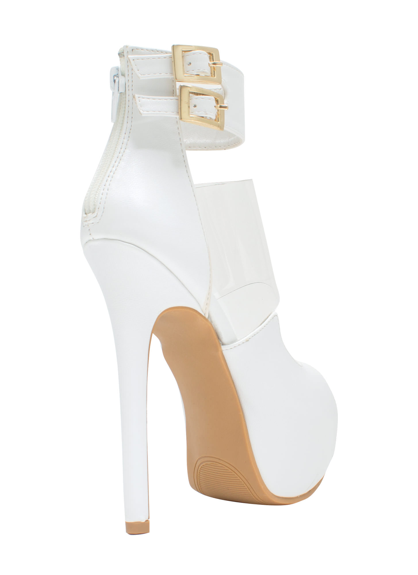 PVC You Soon In Peep-Toe Platforms WHITE