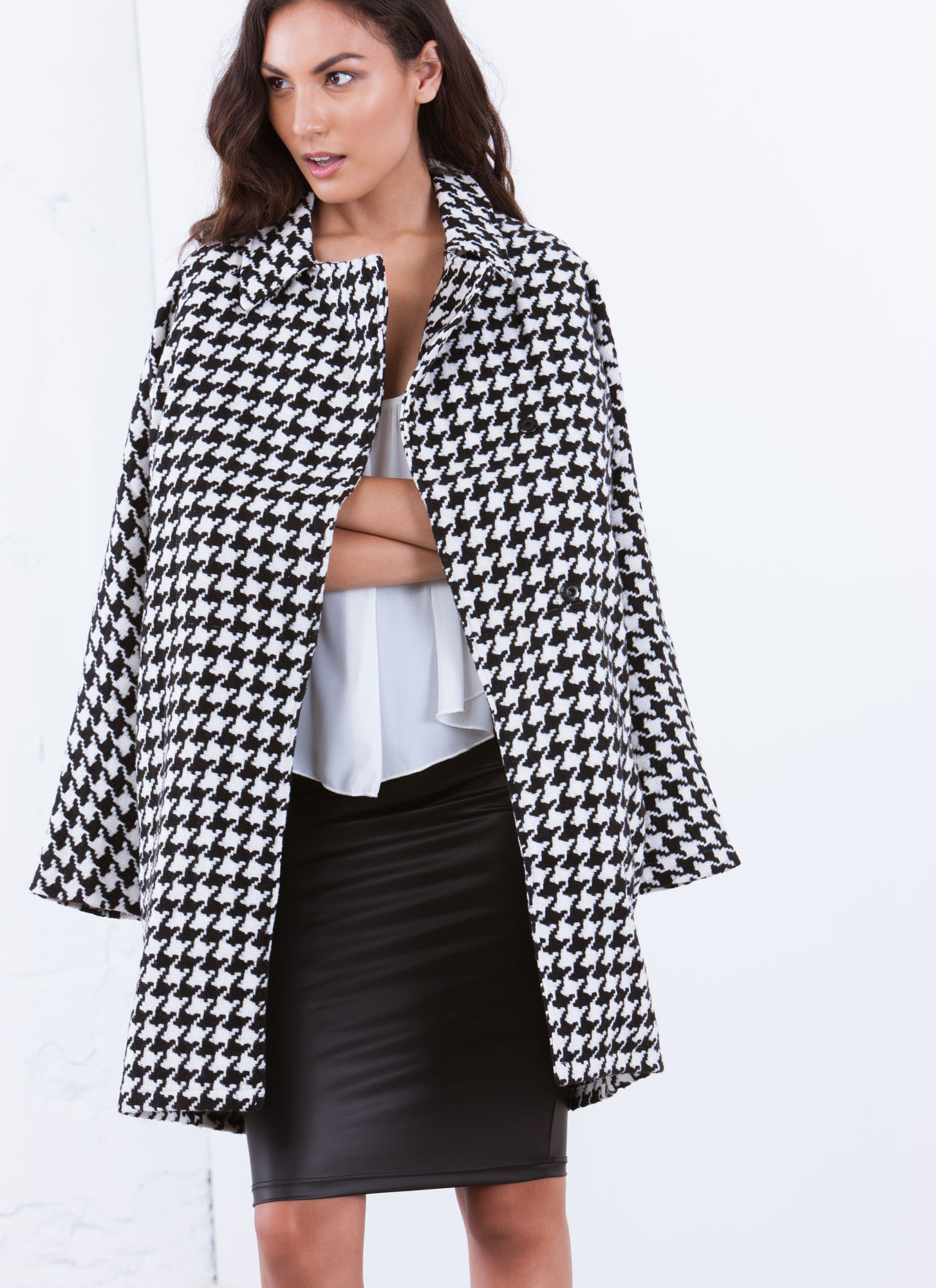 Check This Houndstooth Coat BLACK