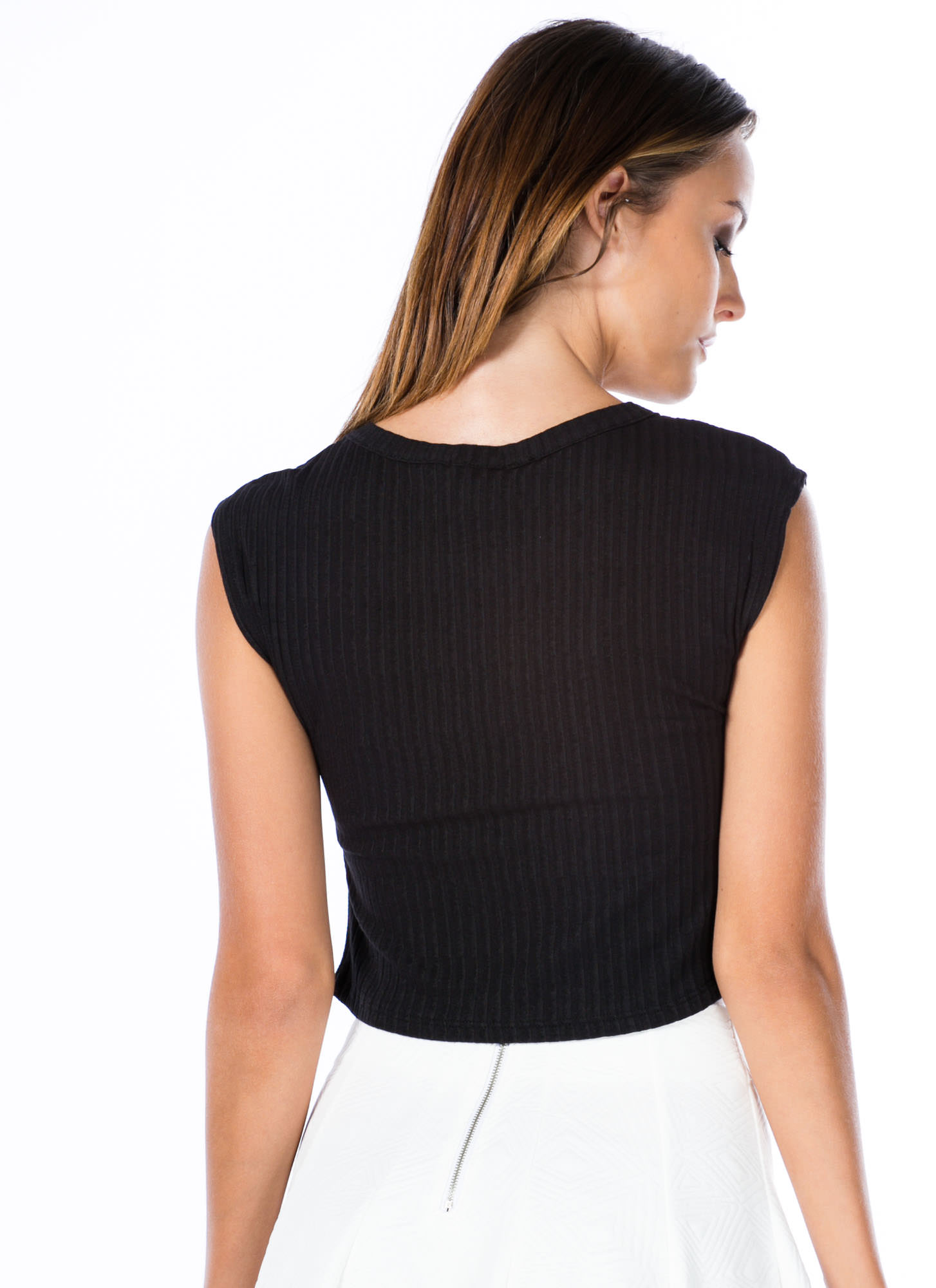 Tres Fatigue Cropped Top BLACK