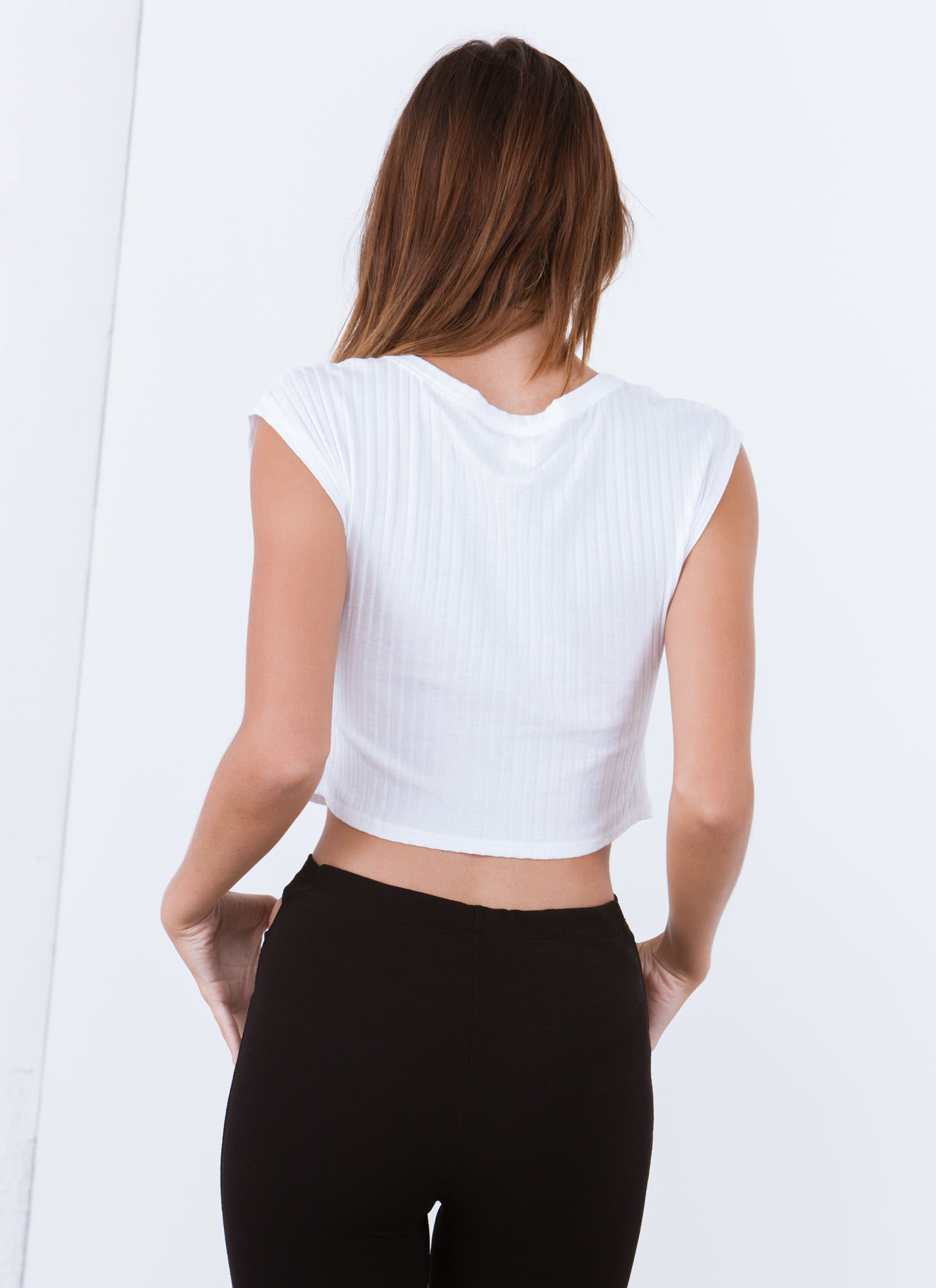 Tres Fatigue Cropped Top WHITE