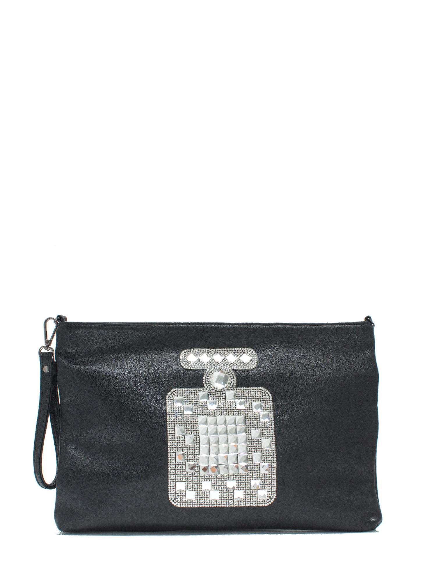 Make Scents Rhinestone Perfume Clutch BLACK