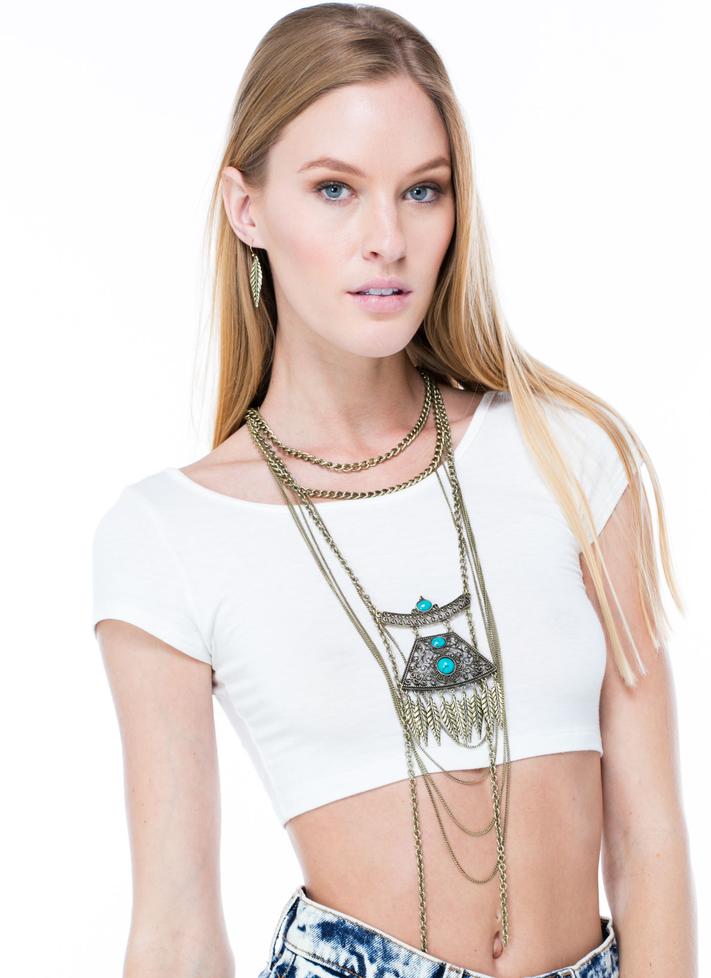Boho Or Go Home Necklace Set DKGOLDTURQ