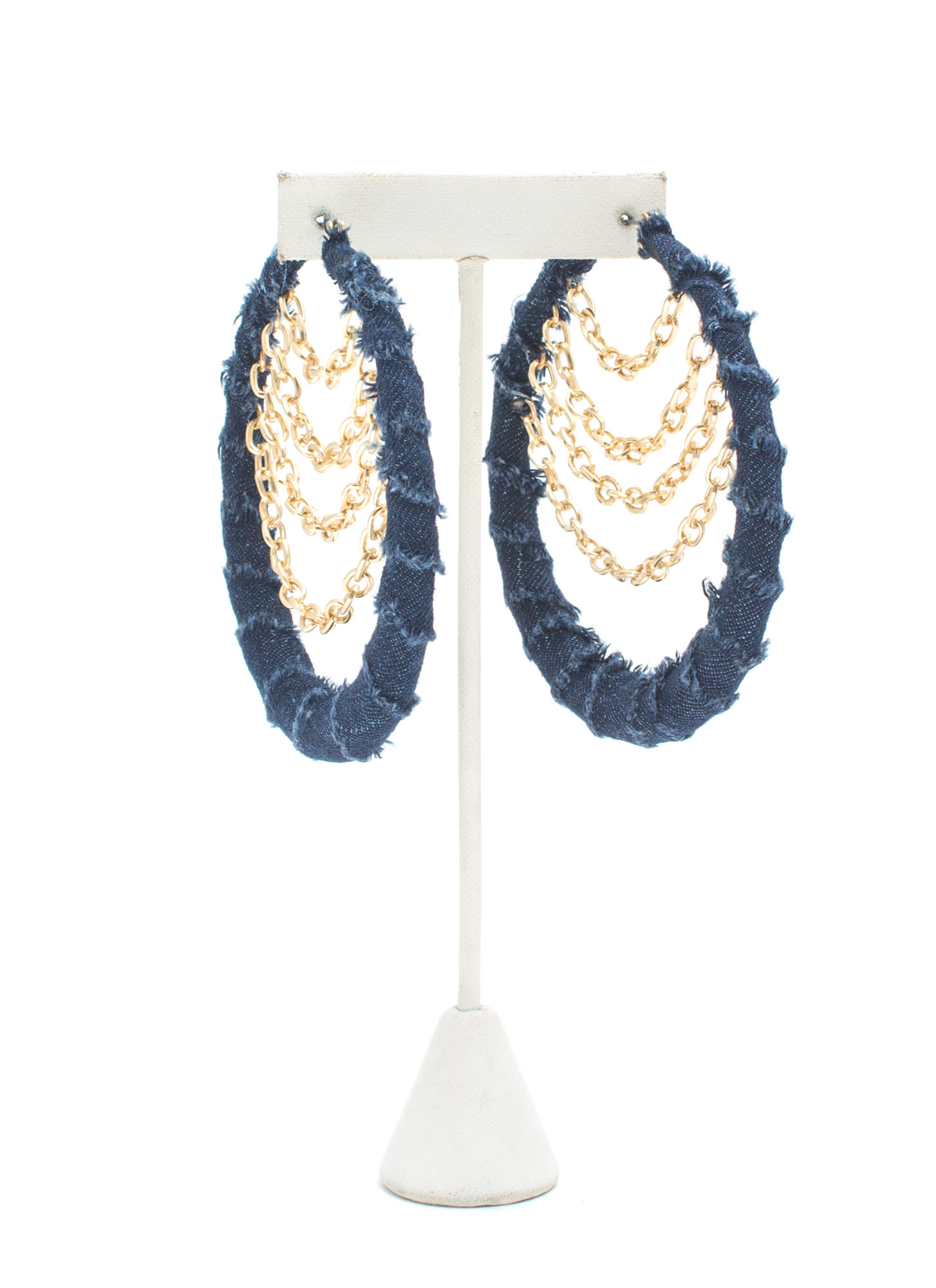 Denim Dazed Layered Chain Hoop Earrings DKBLUEGOLD