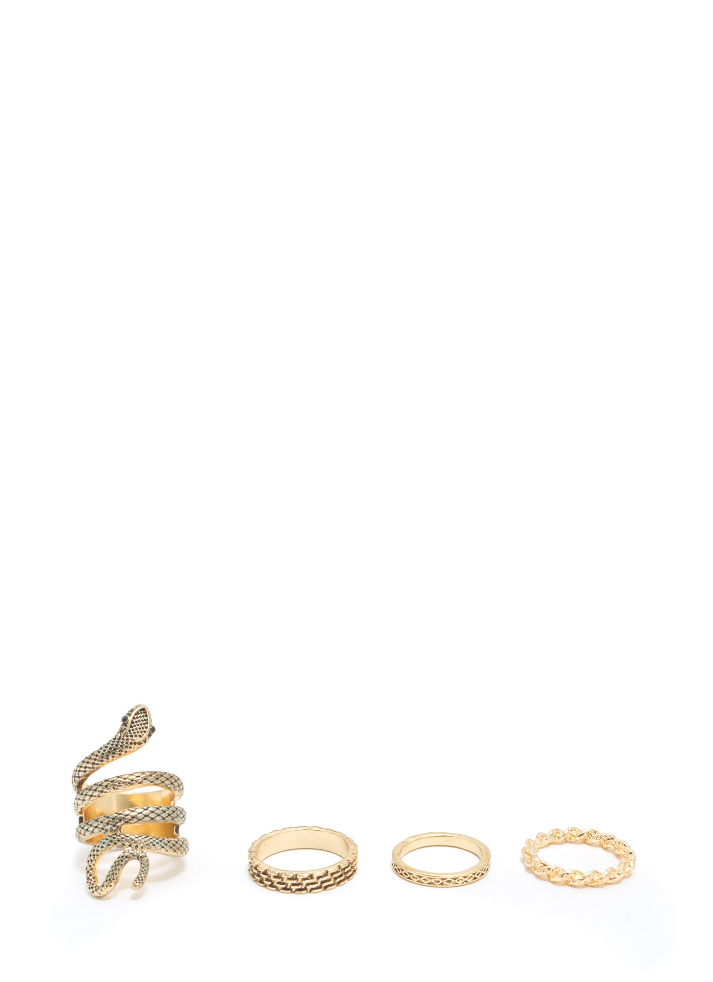 Come Slither Textured Ring Set DKGOLD