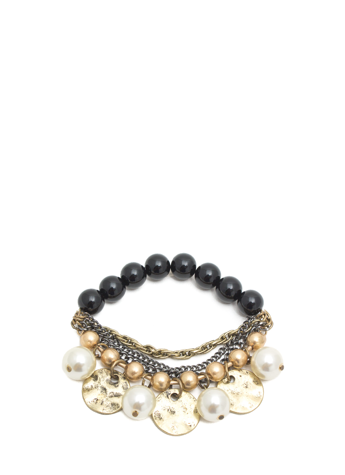 Pearly Whites Layered Bracelet BLACKGOLD