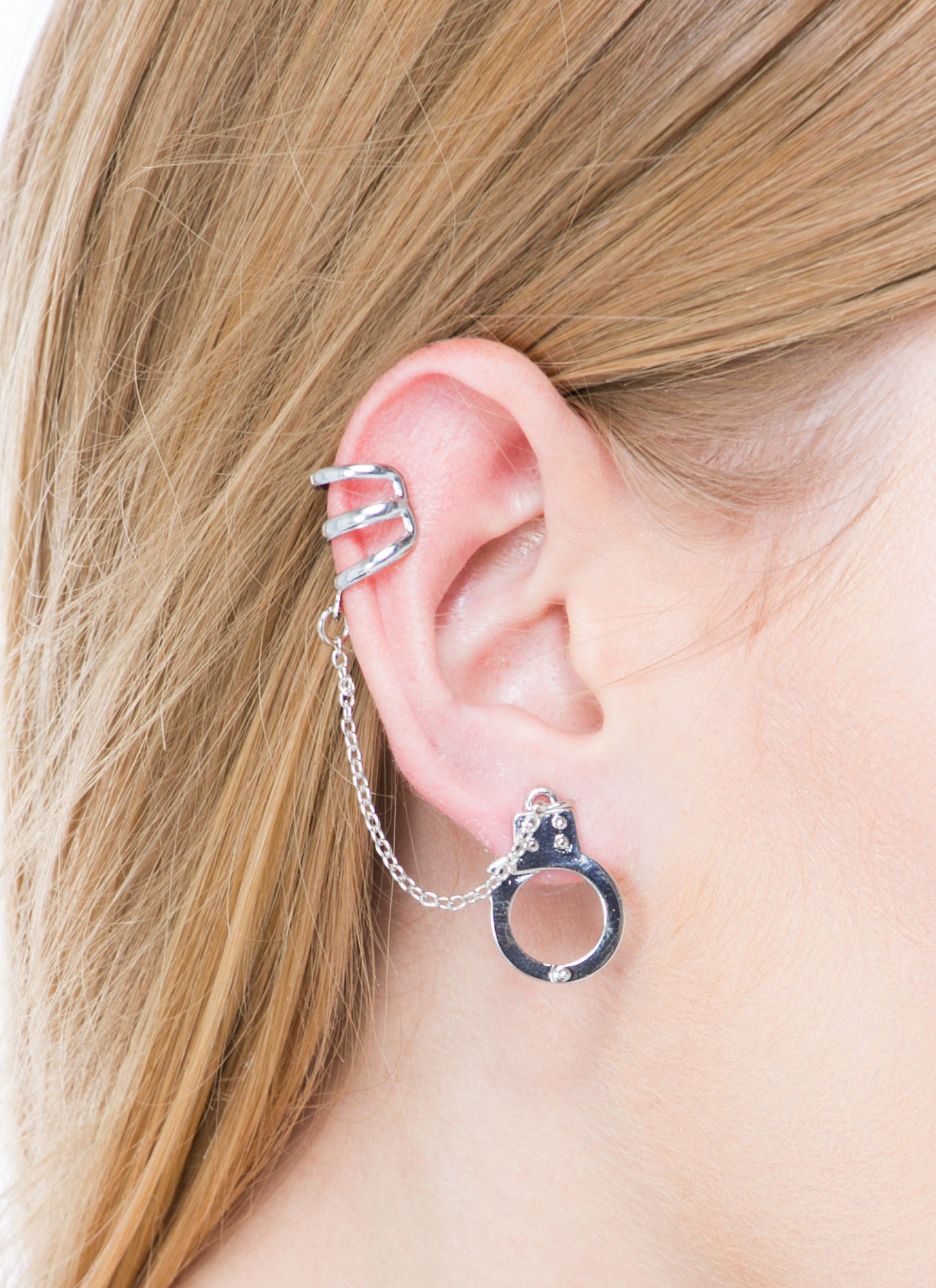 Jailbreak Handcuff Earring And Cuff Set SILVER