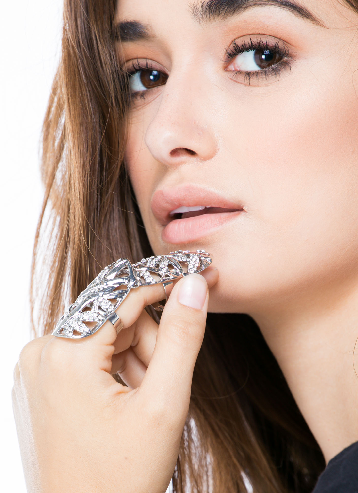 Bling On The Bamboo Jeweled Shield Ring SILVERCLR