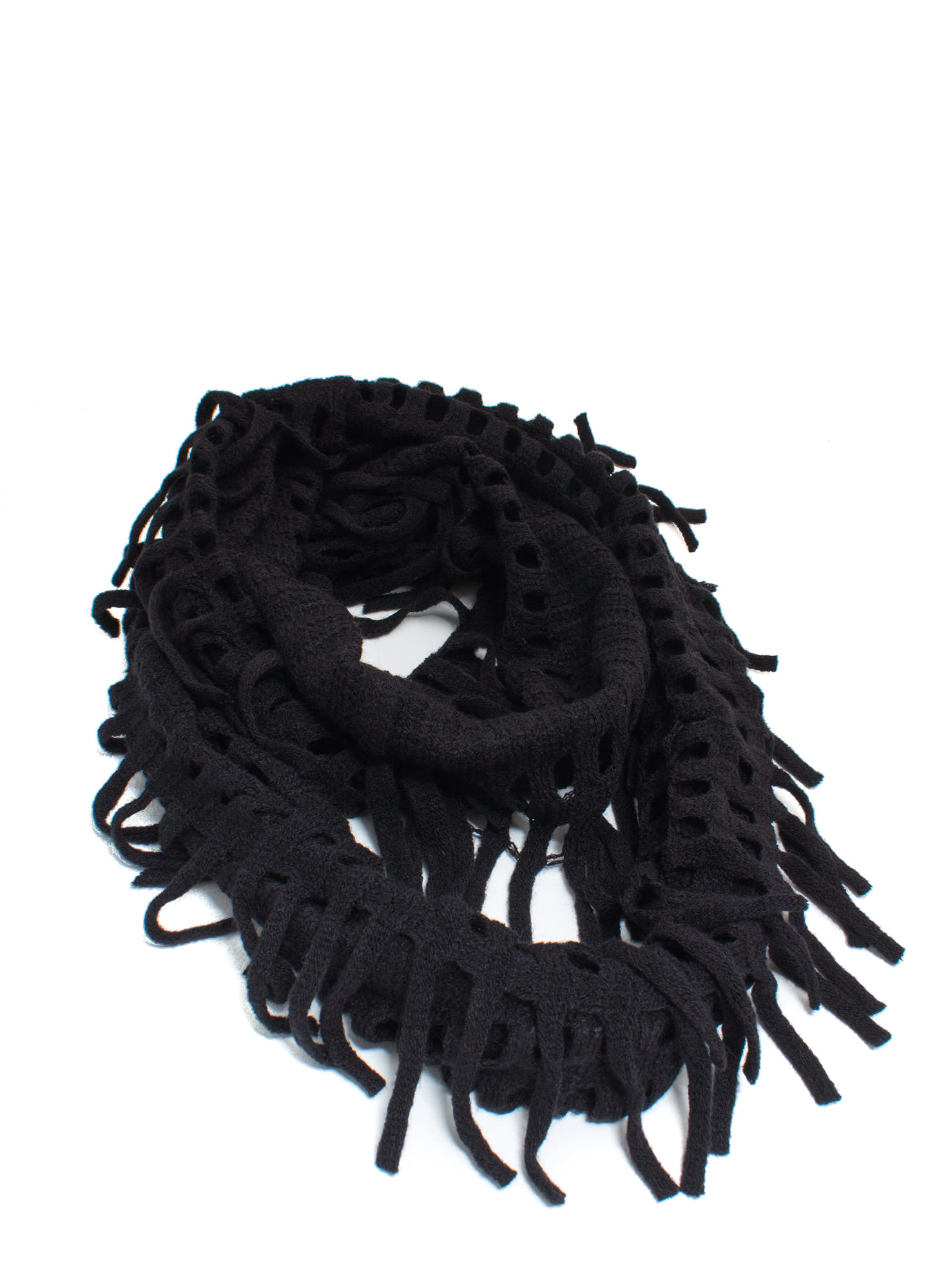 Holey Grail Knit Infinity Scarf BLACK