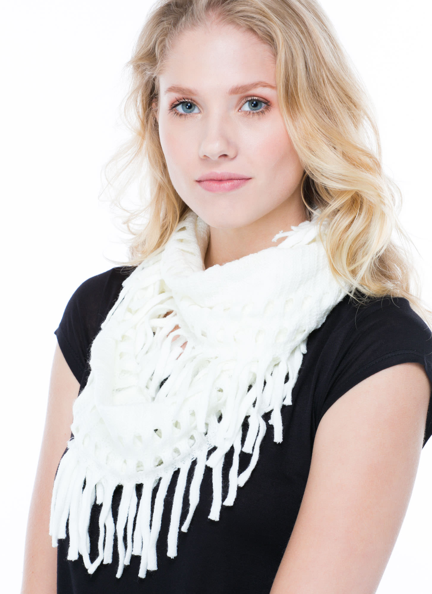 Holey Grail Knit Infinity Scarf IVORY