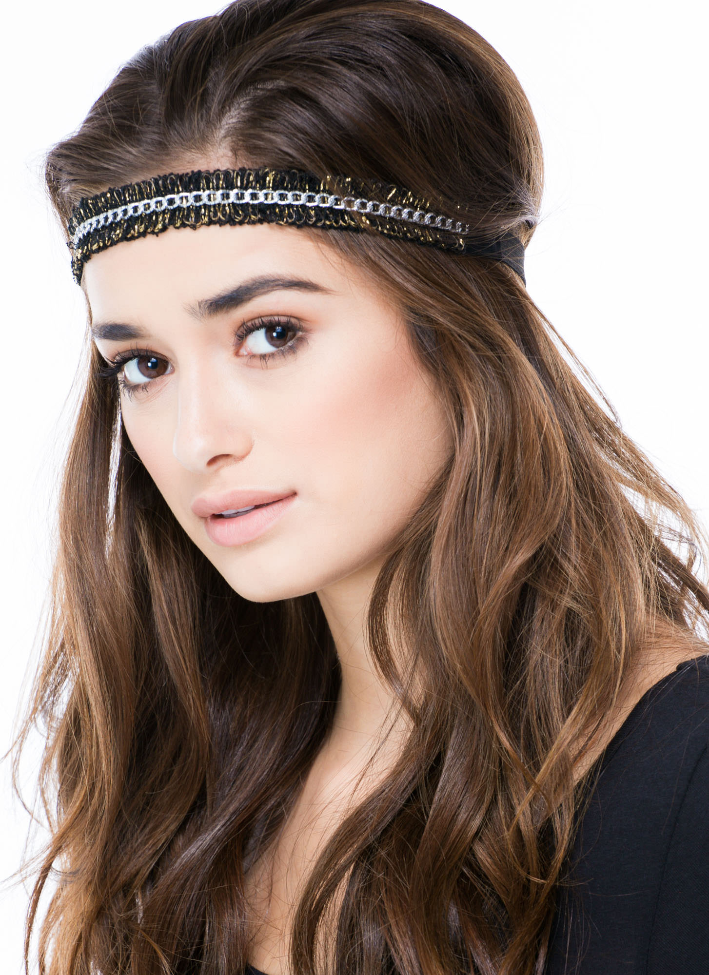 Loopy Fringe Chain Headband BLACKSILVER
