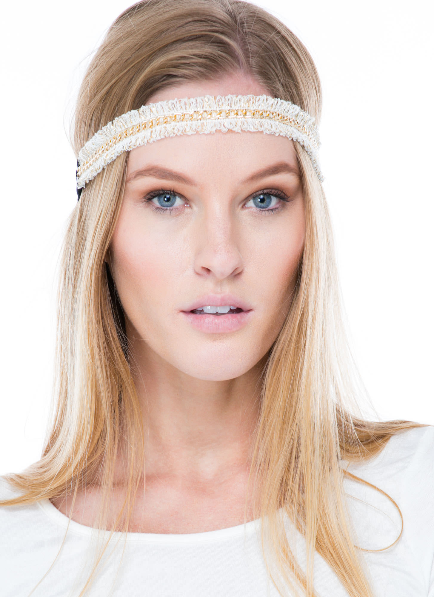 Loopy Fringe Chain Headband WHITEGOLD