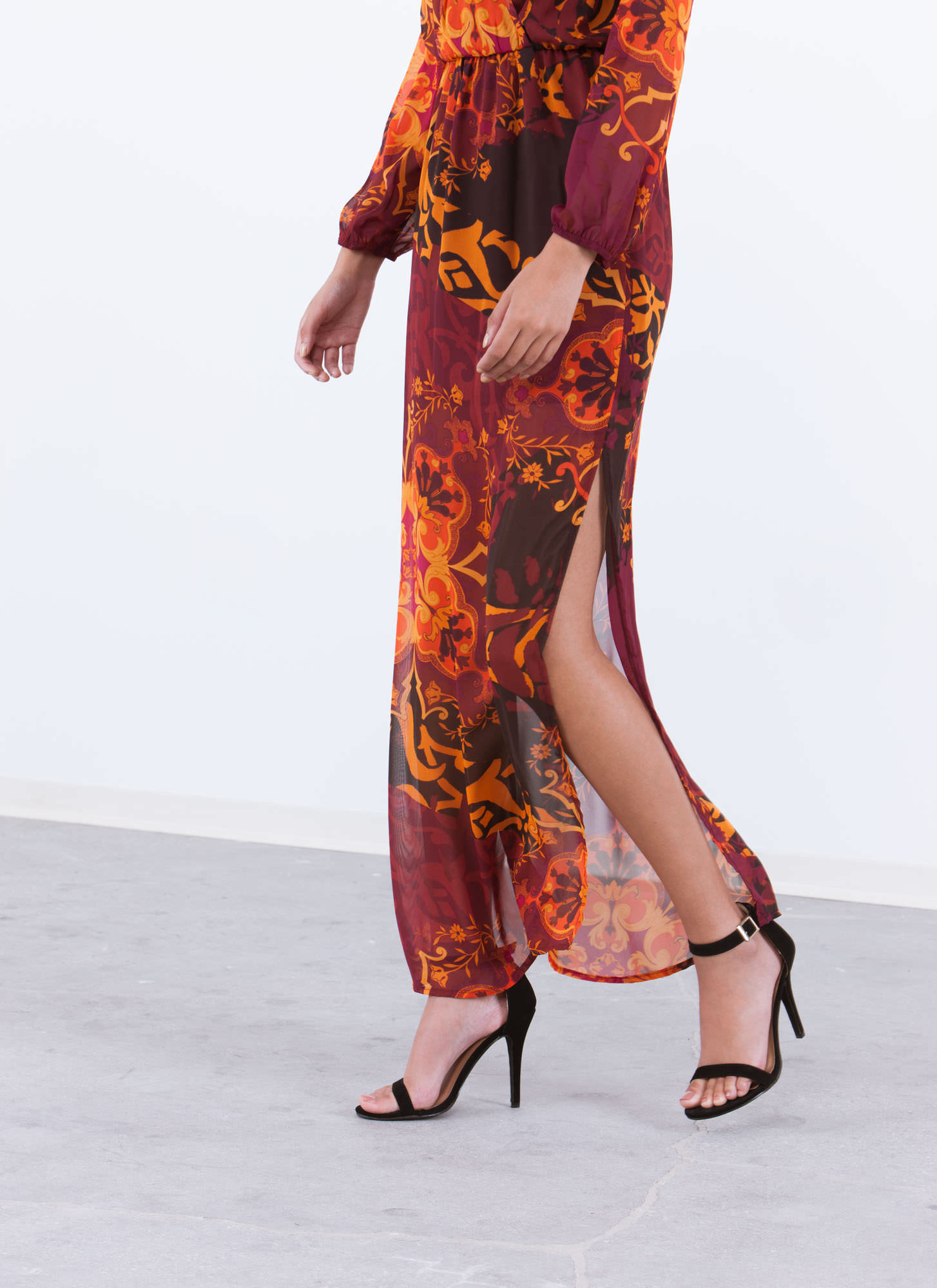 Scroll Through Floral Surplice Maxi WINE