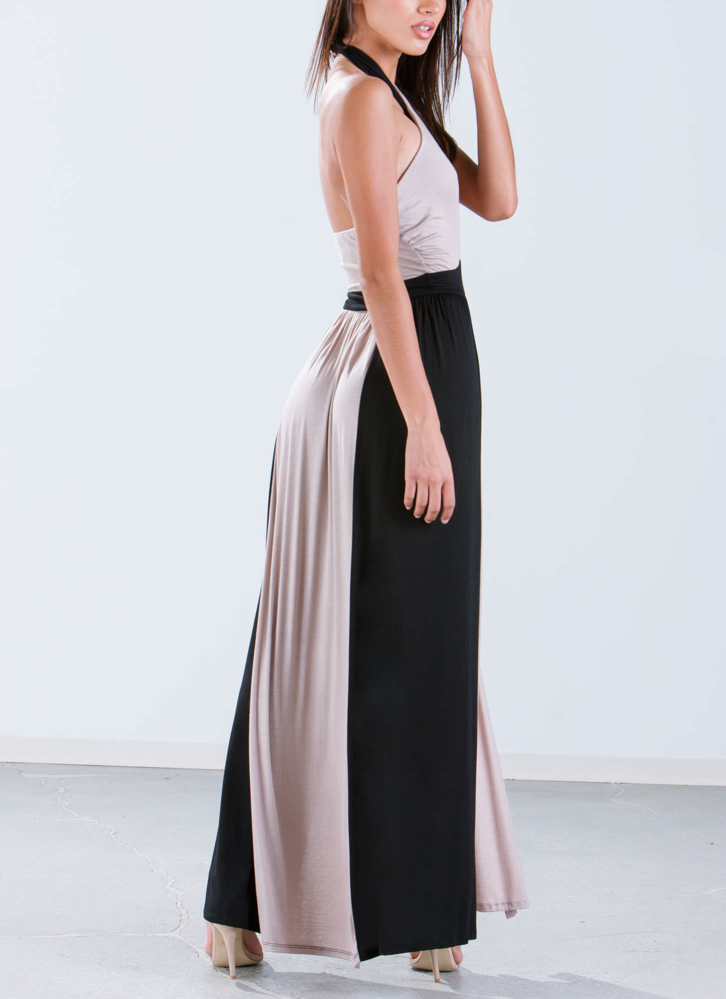 Double Down Colorblock Slit Halter Maxi TAUPEBLACK