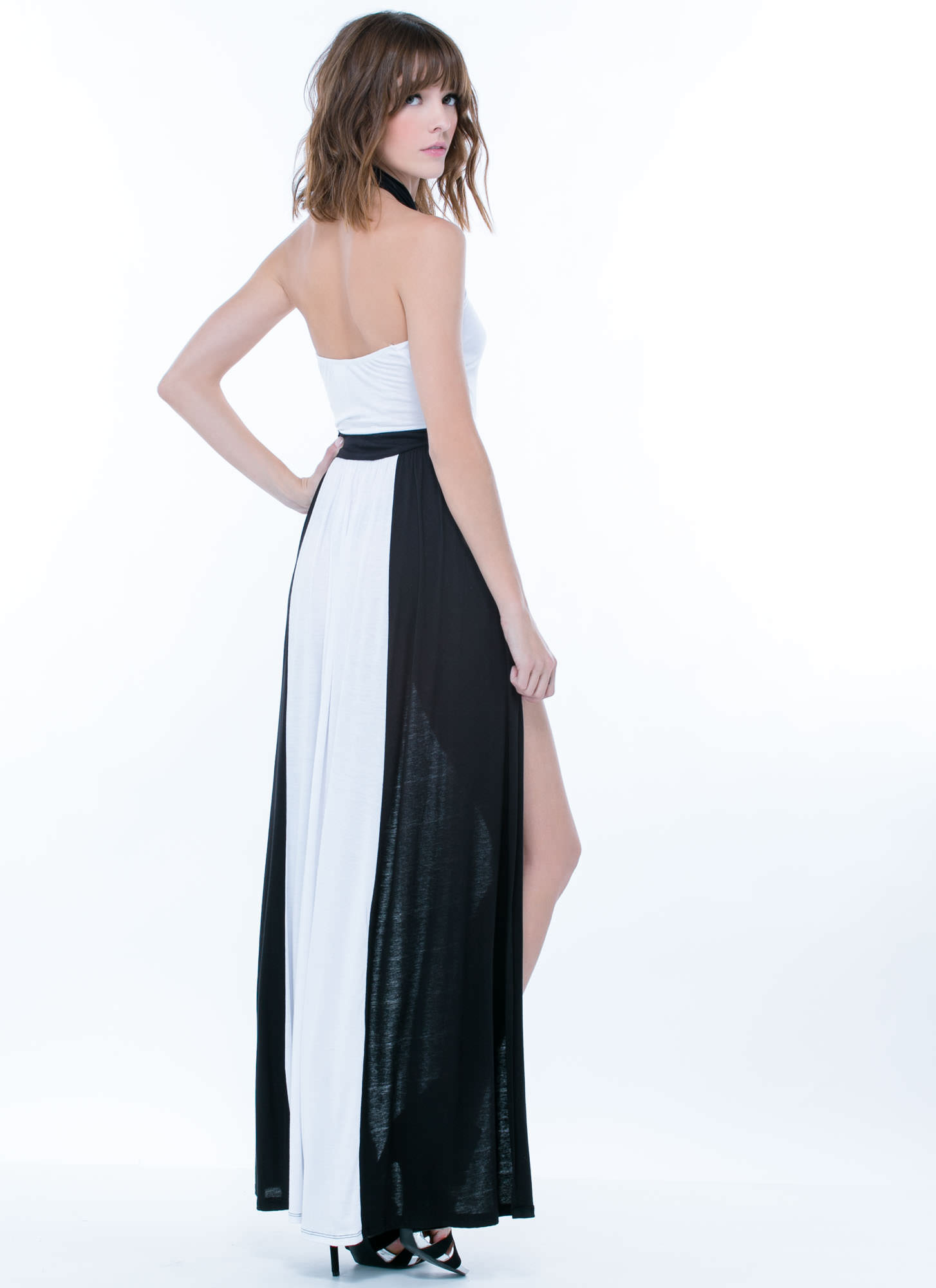 Double Down Colorblock Slit Halter Maxi WHITEBLACK