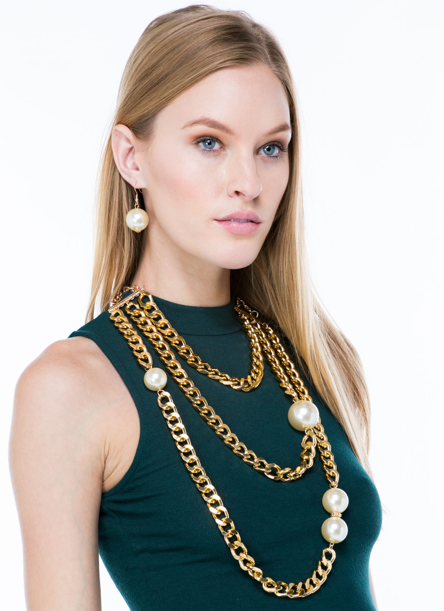 Pearl Diving Layered Chain Necklace Set GOLDIVORY