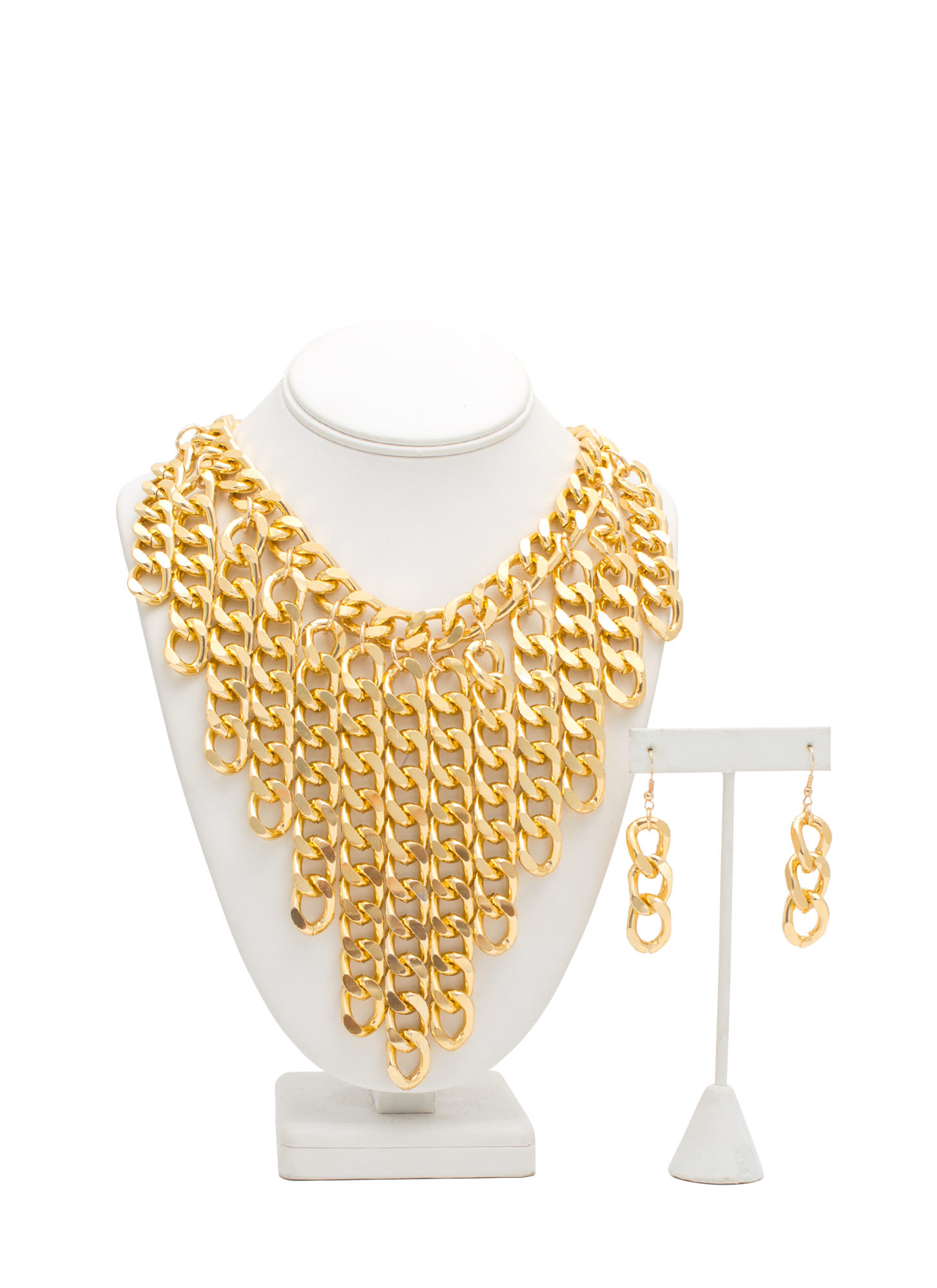 Chain Gang Waterfall Fringe Necklace Set GOLD
