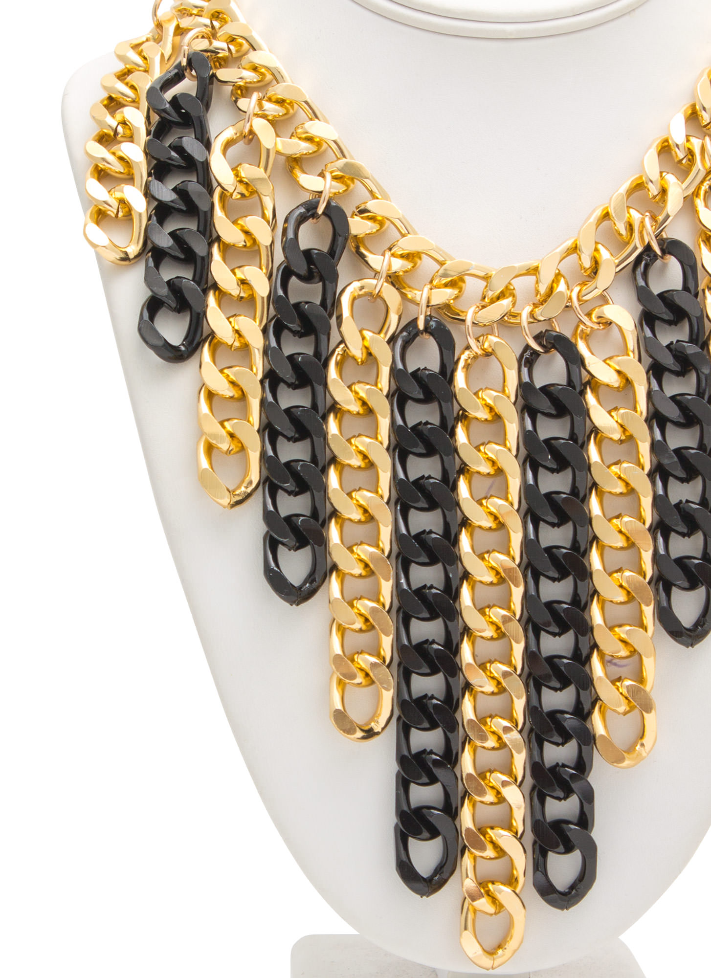 Chain Gang Waterfall Fringe Necklace Set GOLDBLACK