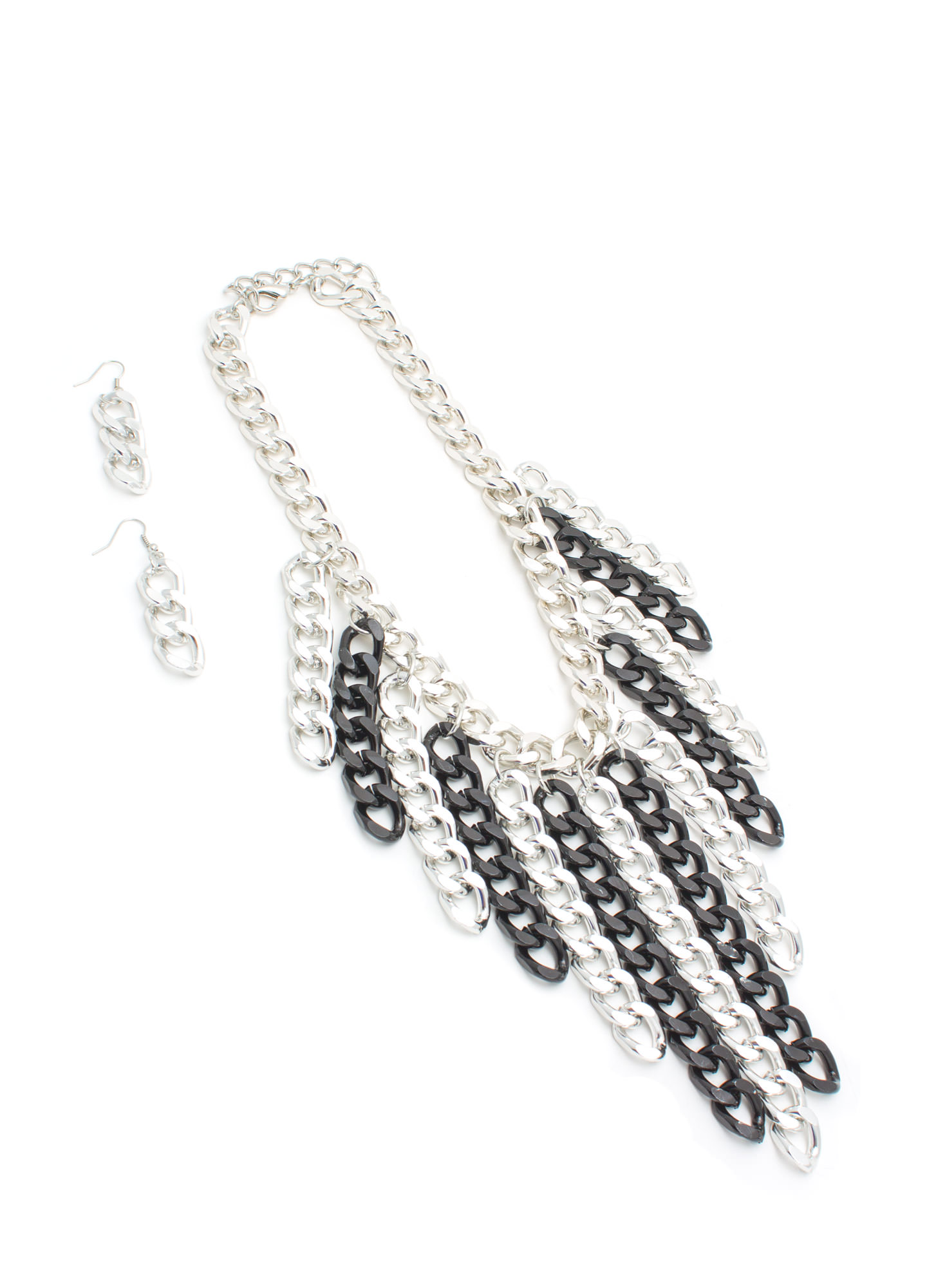 Chain Gang Waterfall Fringe Necklace Set SILVERBLK
