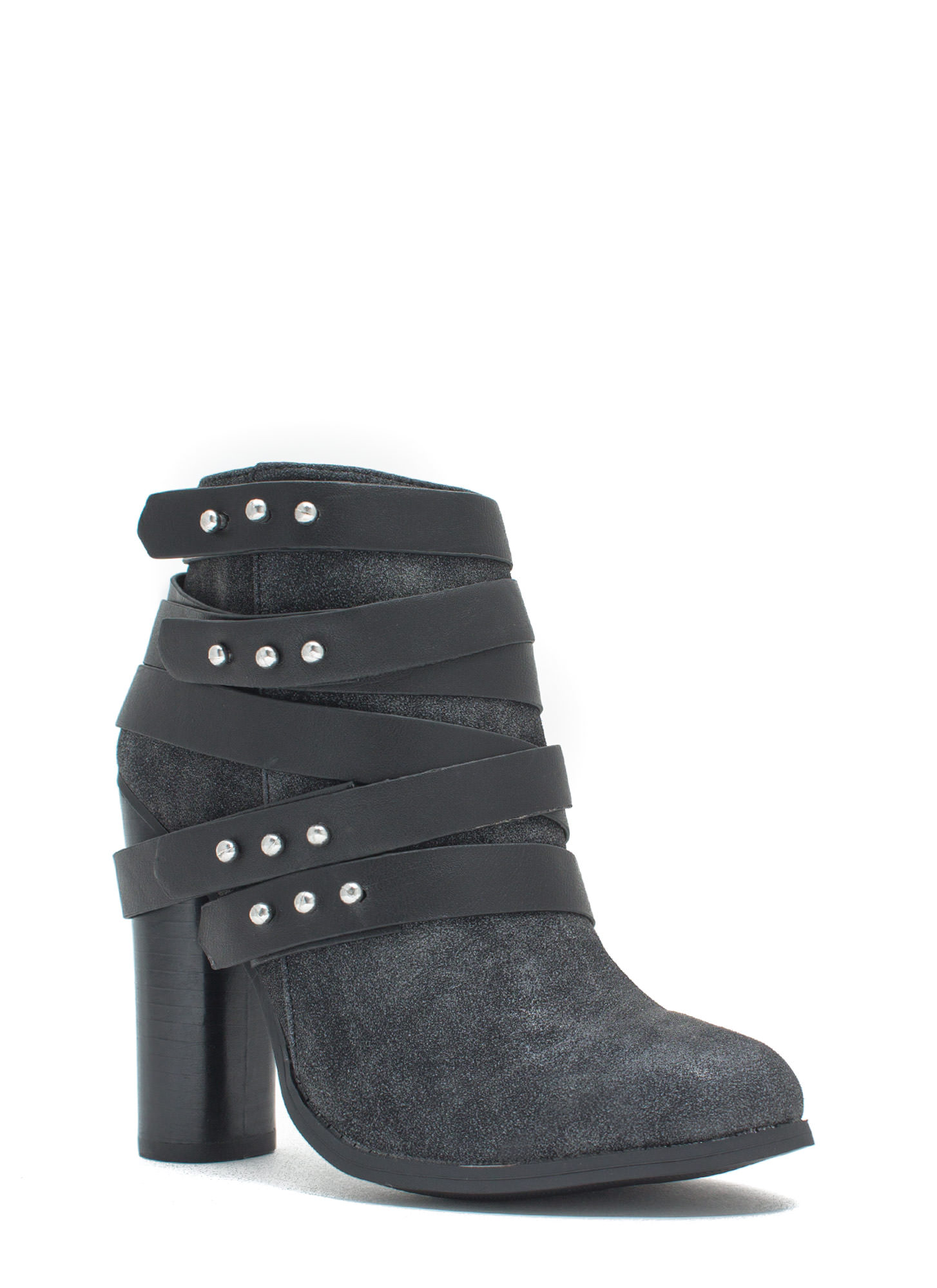 That's A Wrap Studded Booties BLACK