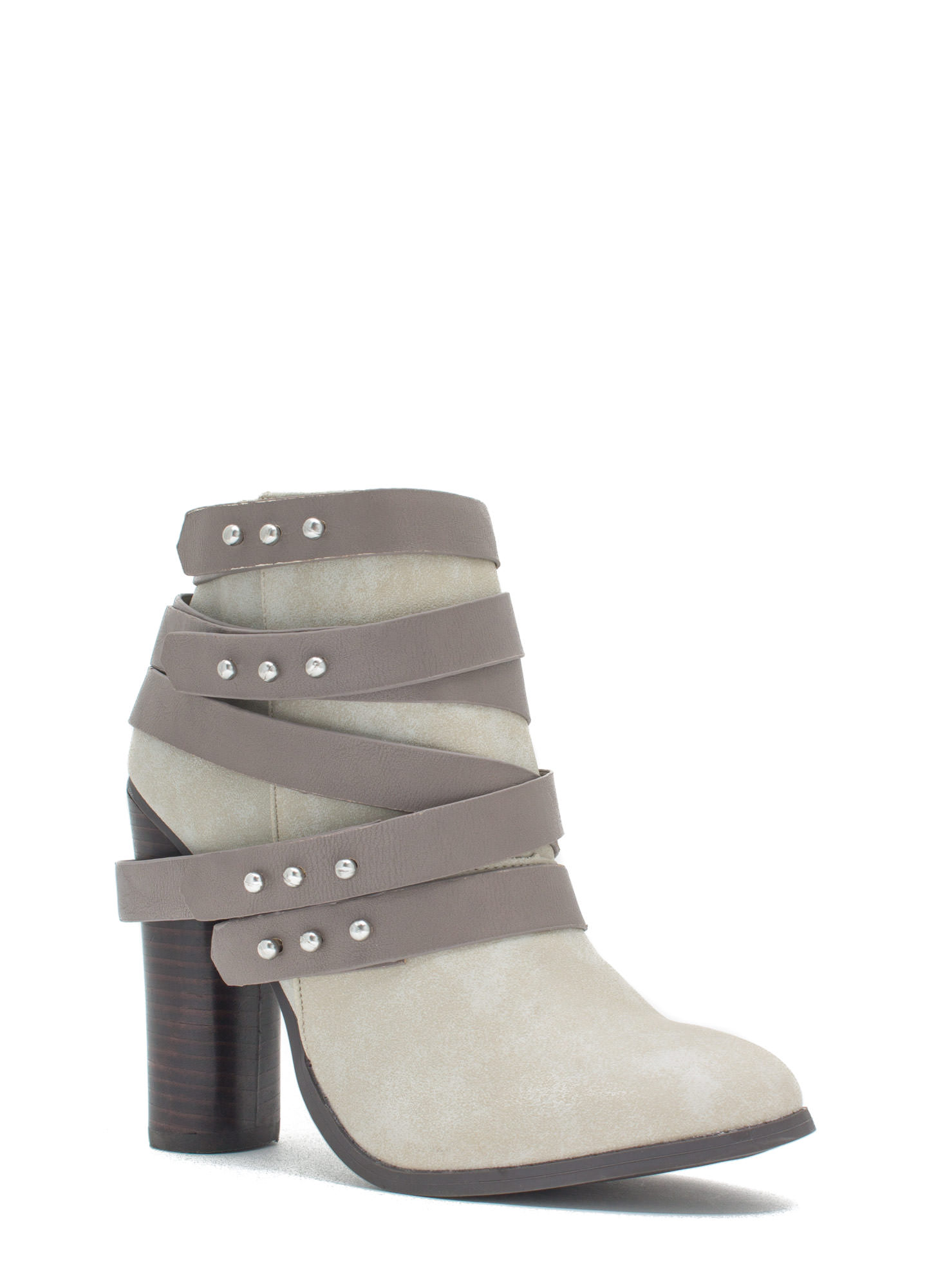 That's A Wrap Studded Booties STONE