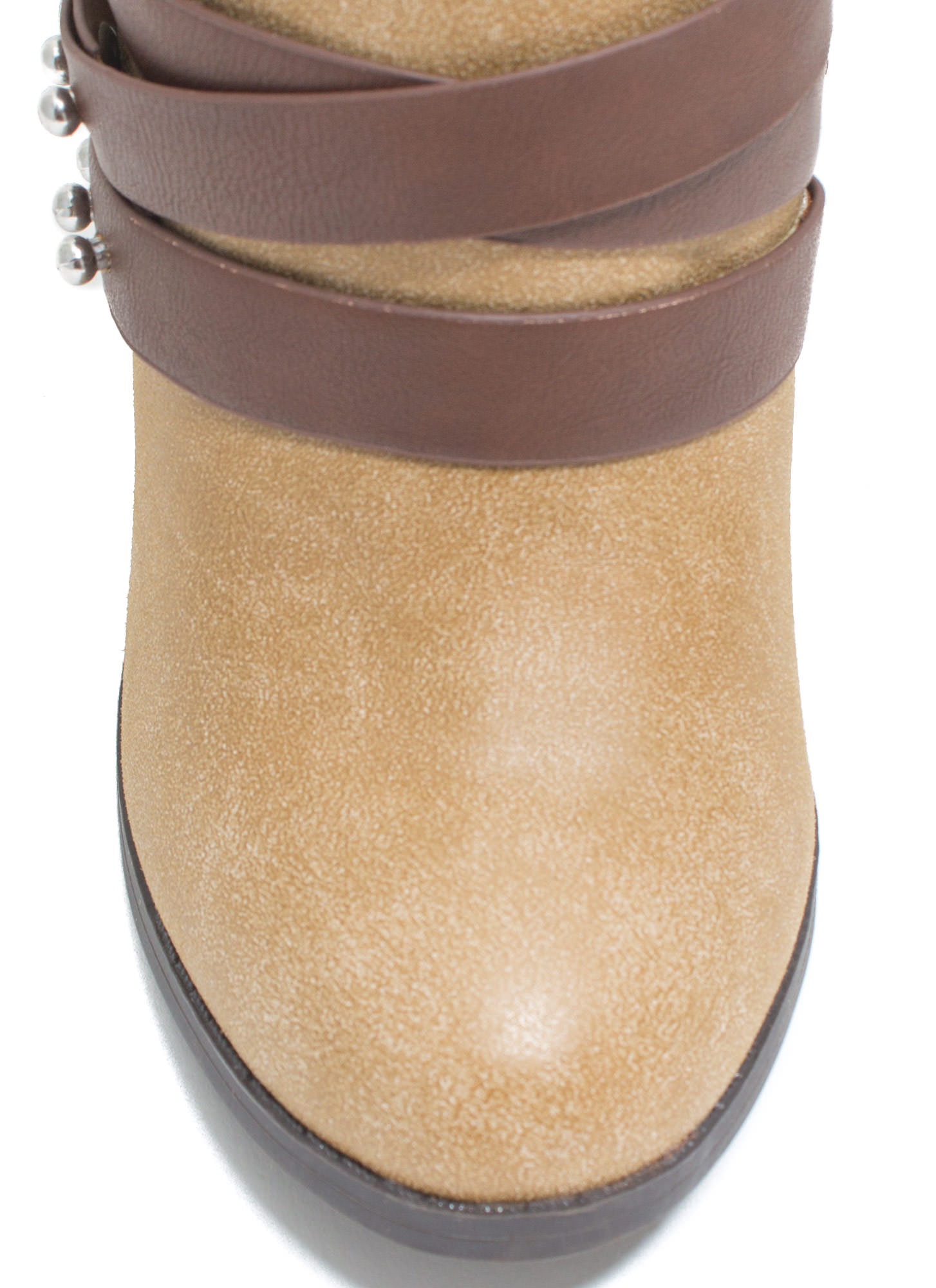 That's A Wrap Studded Booties TAUPE