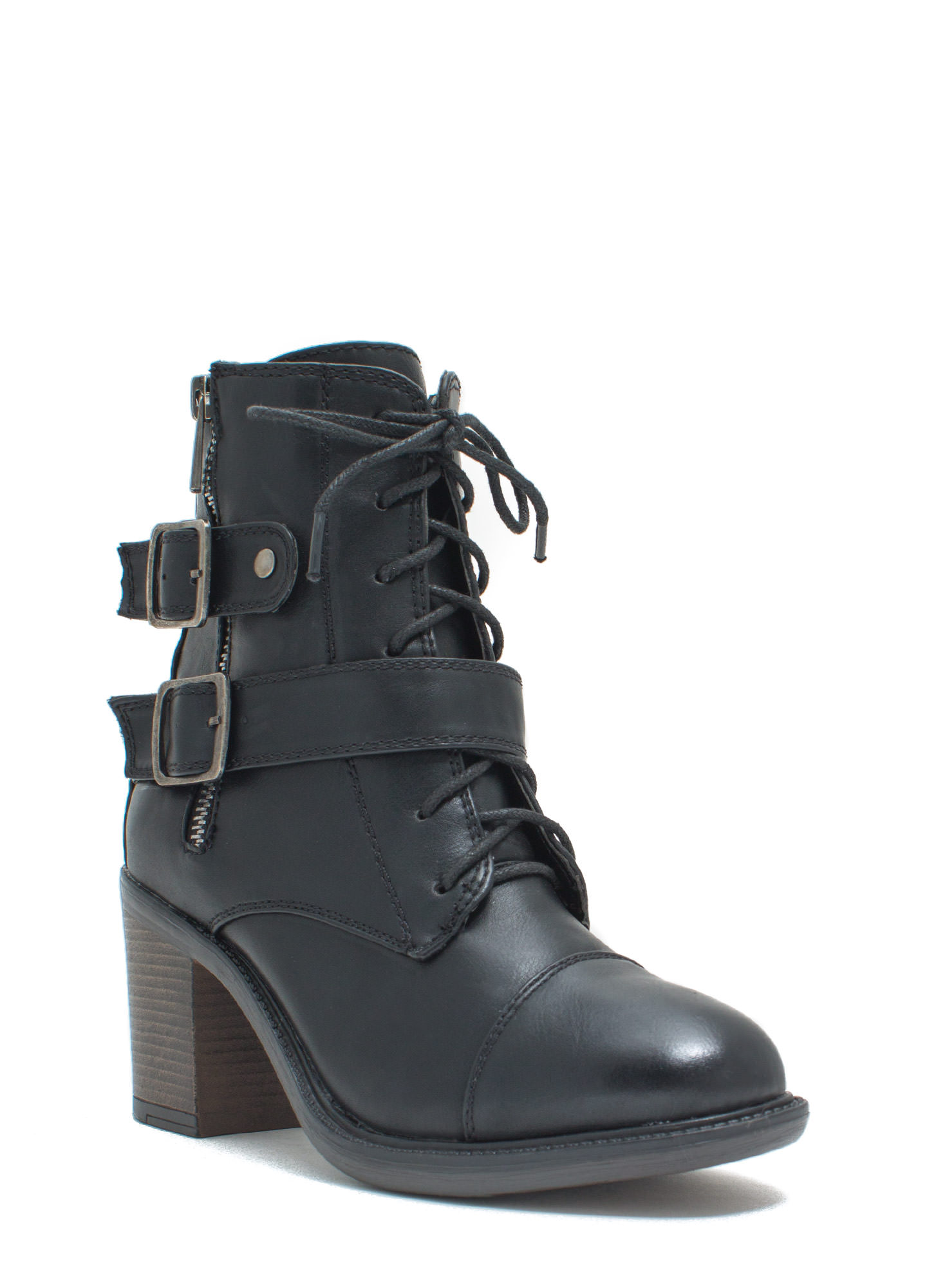 Ride It Out Lace-Up Booties BLACK