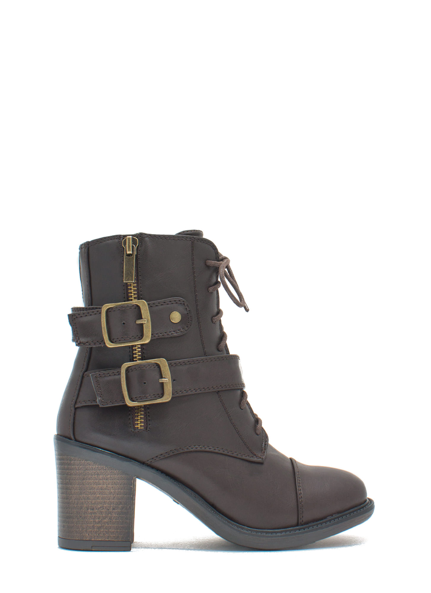 Ride It Out Lace-Up Booties BROWN