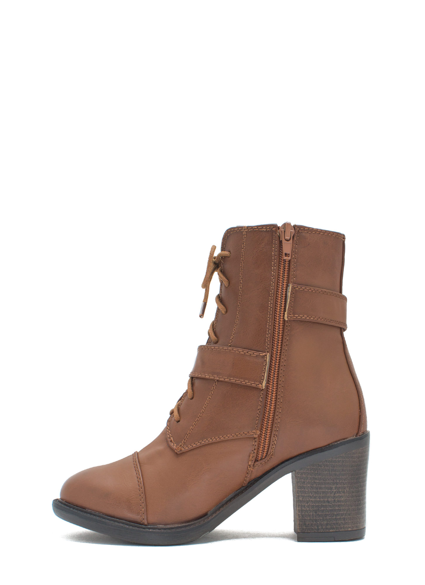 Ride It Out Lace-Up Booties CHESTNUT
