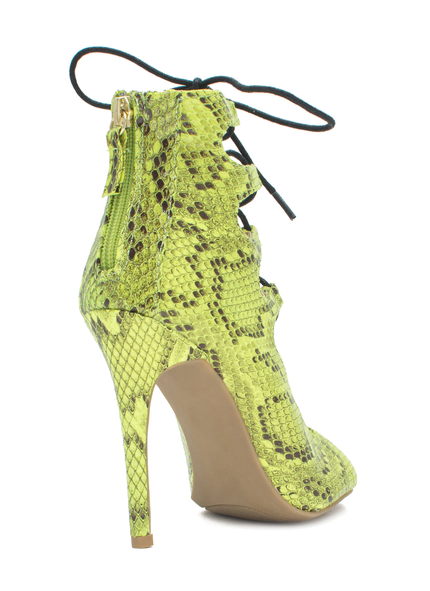 Snake Around Corset Lace-Up Heels LIME