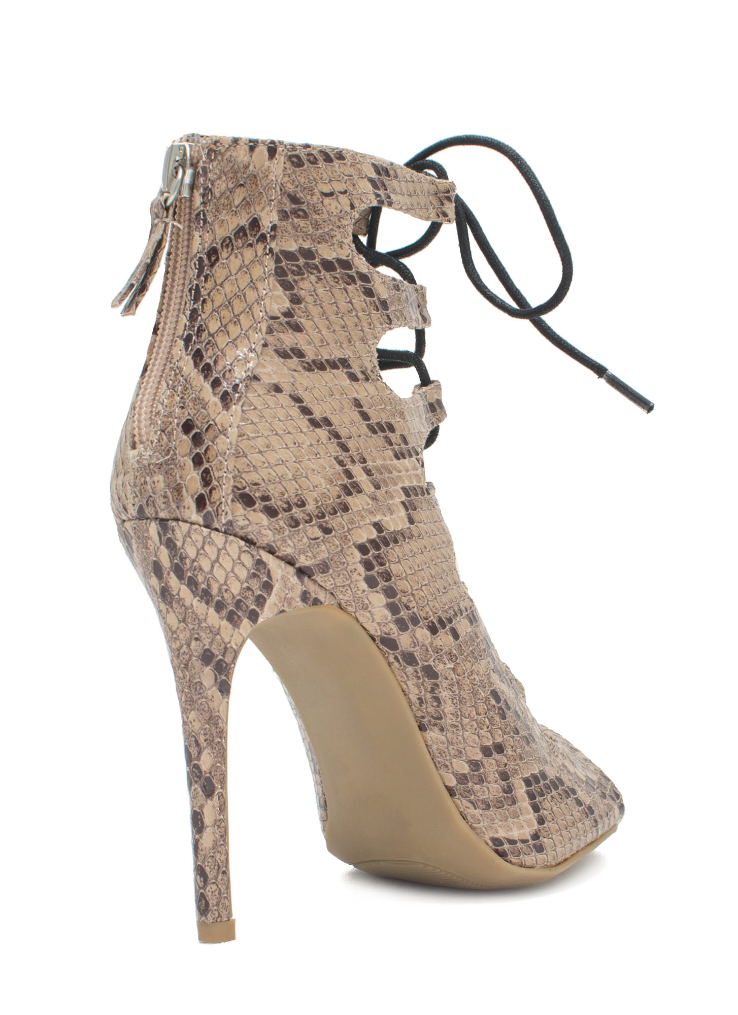 Snake Around Corset Lace-Up Heels NATURAL