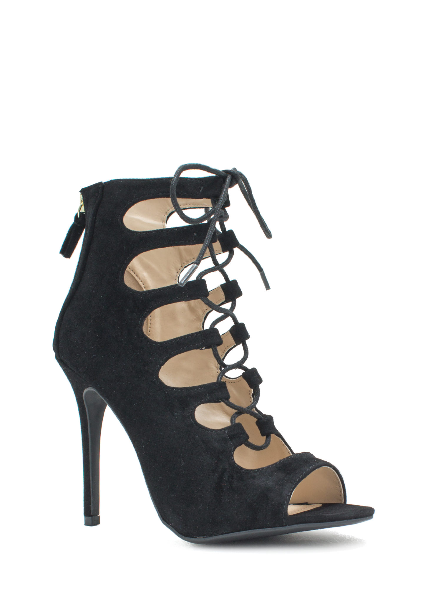 Tight Laced Corset Heels BLACK