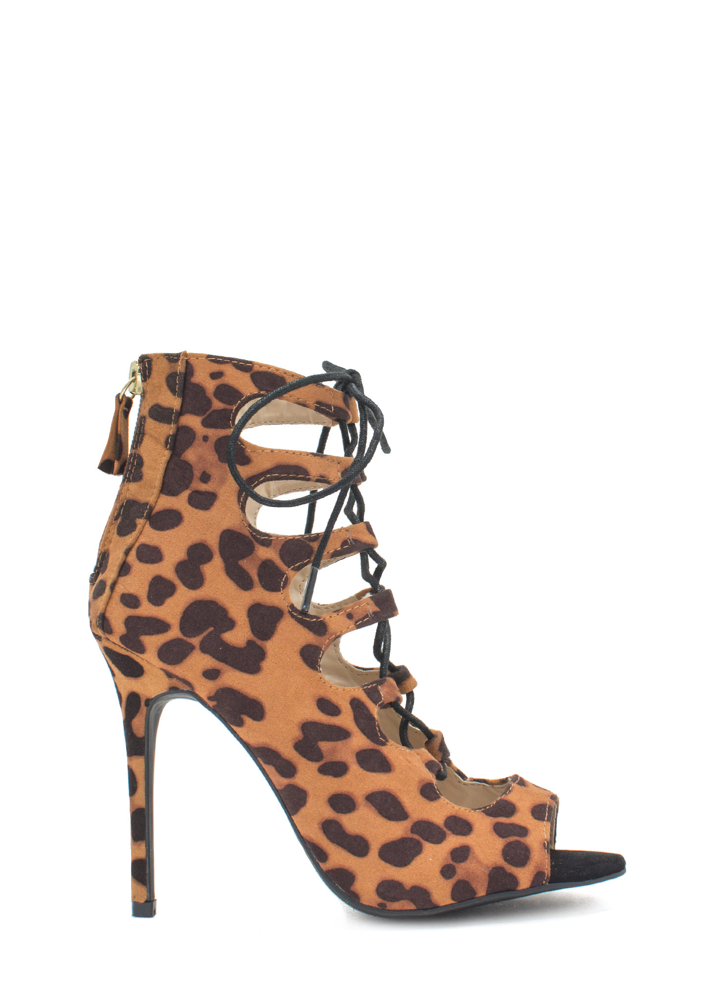 Tight Laced Corset Heels LEOPARD