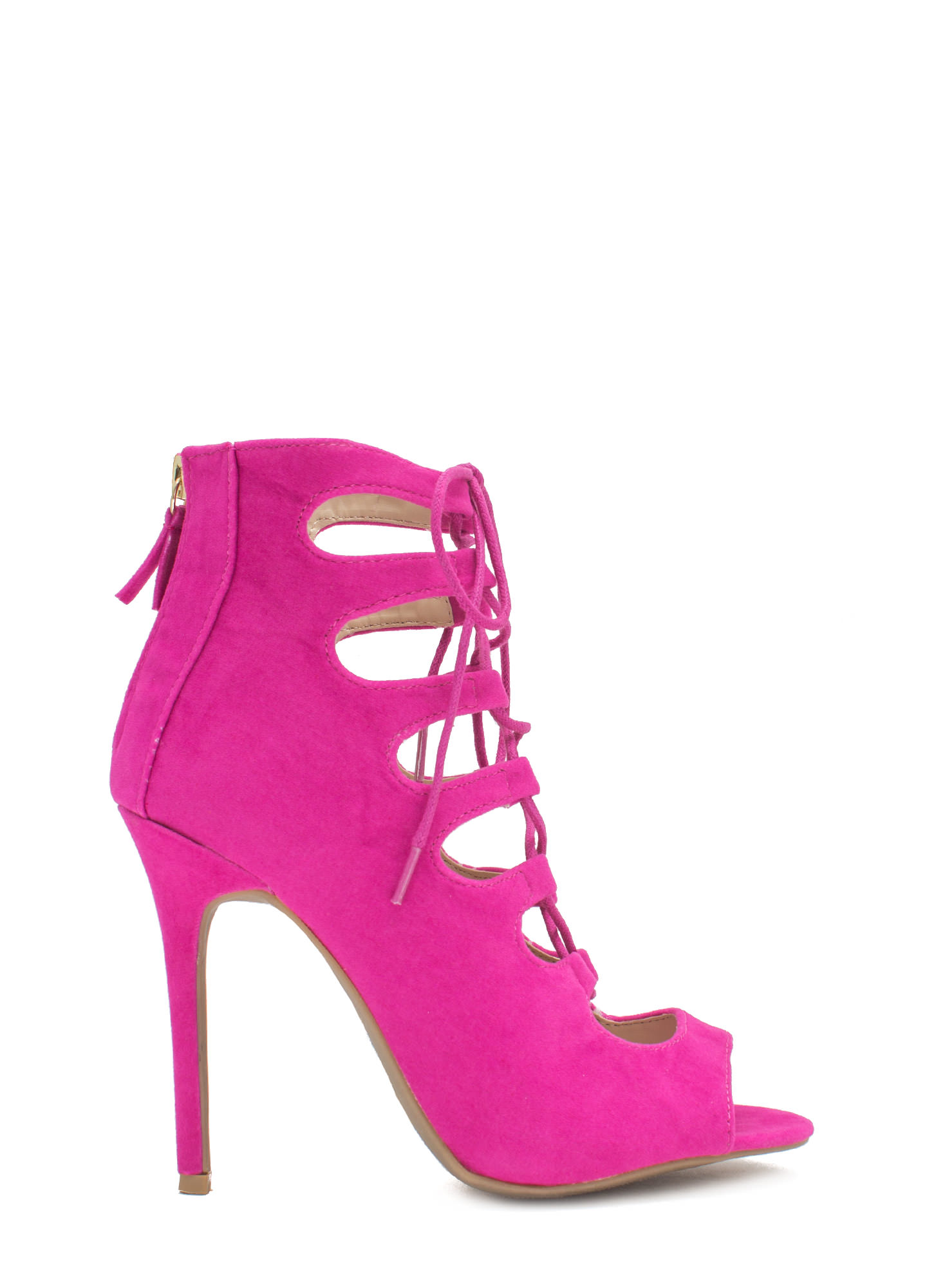 Tight Laced Corset Heels MAGENTA