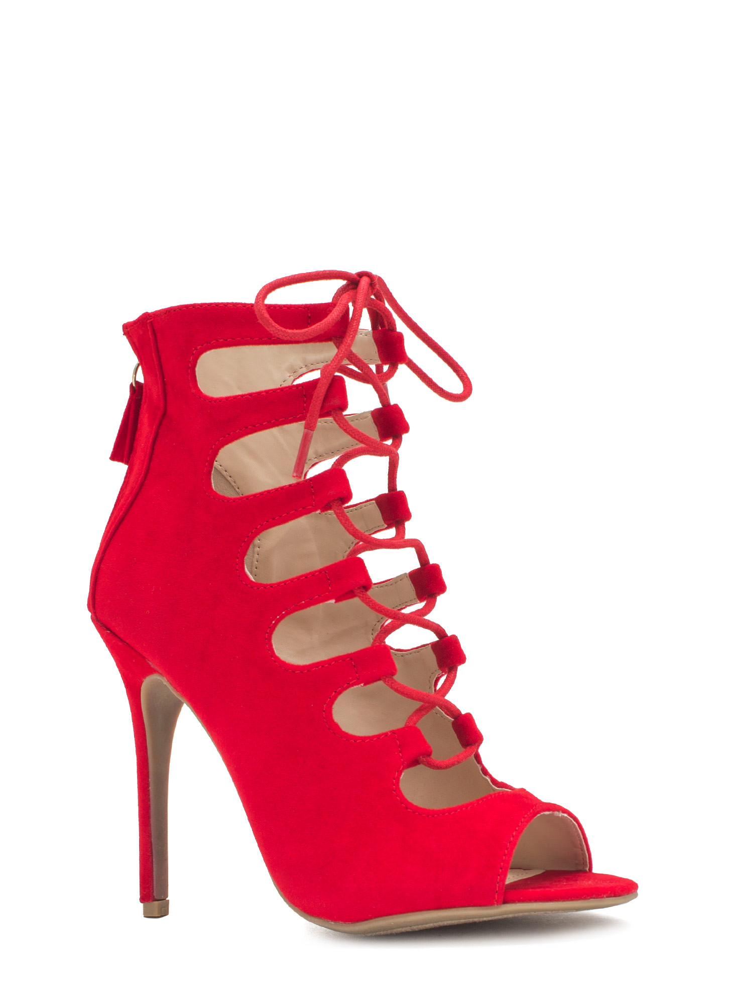 Tight Laced Corset Heels RED