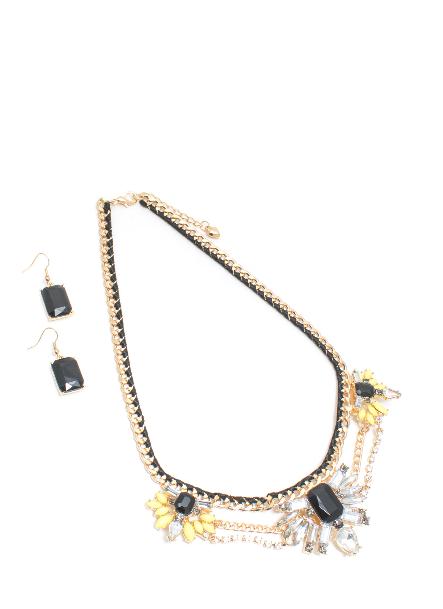 Garden Glamour Faux Jewel Necklace Set BLACKGOLD