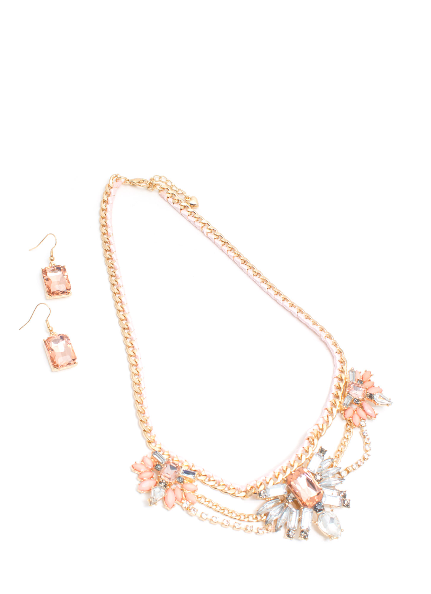 Garden Glamour Faux Jewel Necklace Set PINKGOLD