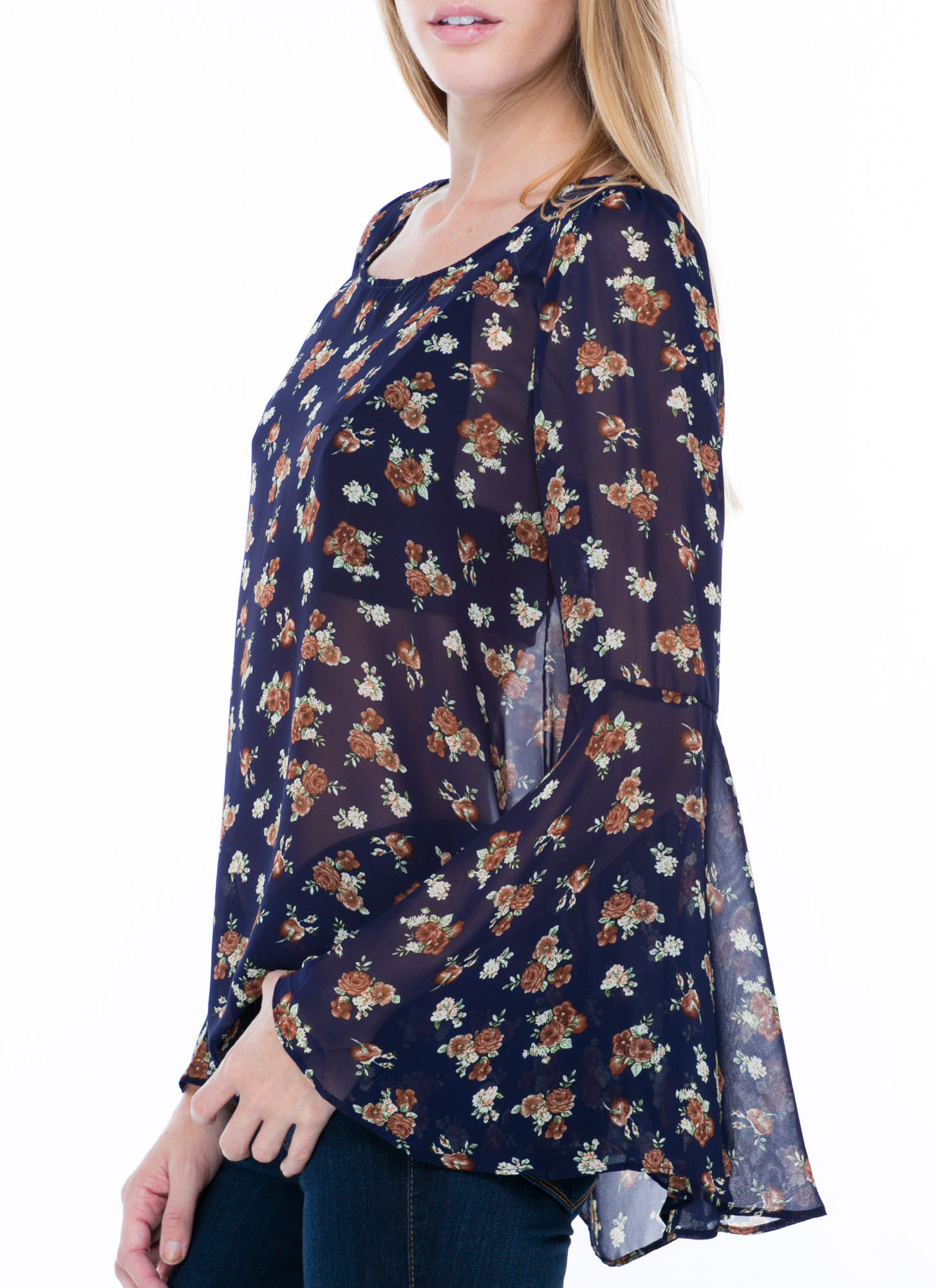 Be There With Bell Sleeves On Floral Top NAVY
