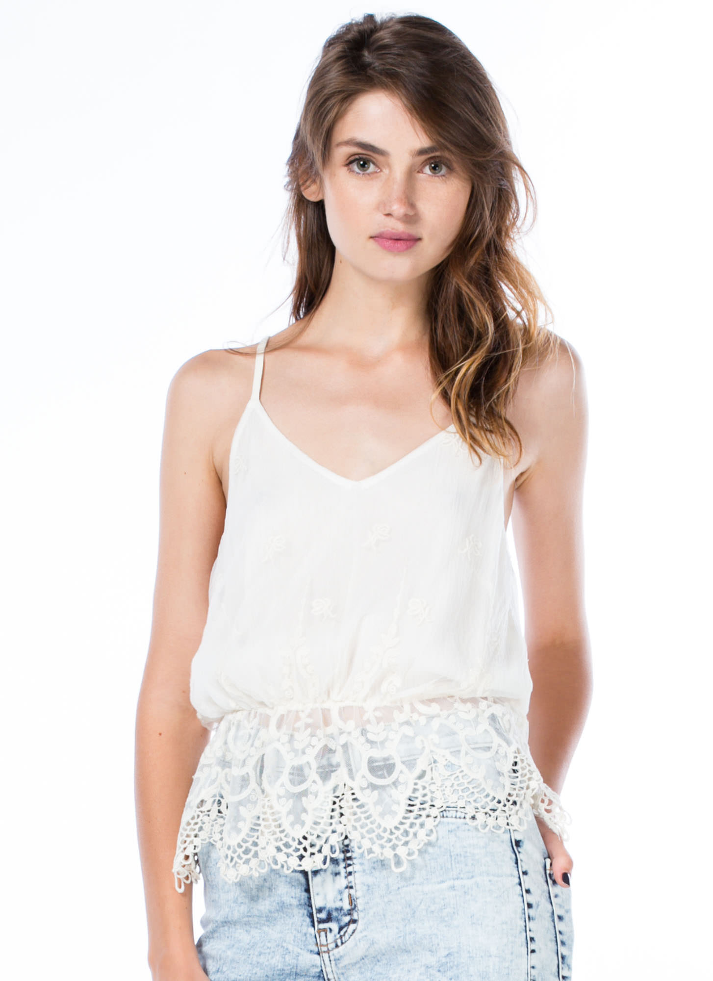 Romance Me Crochet Trim Lace Top NATURAL