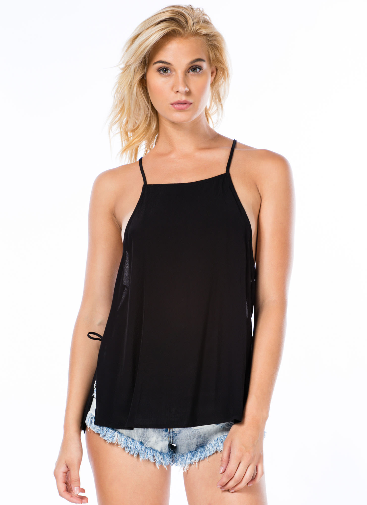 Taking Sides Laced Cami Swing Tank BLACK