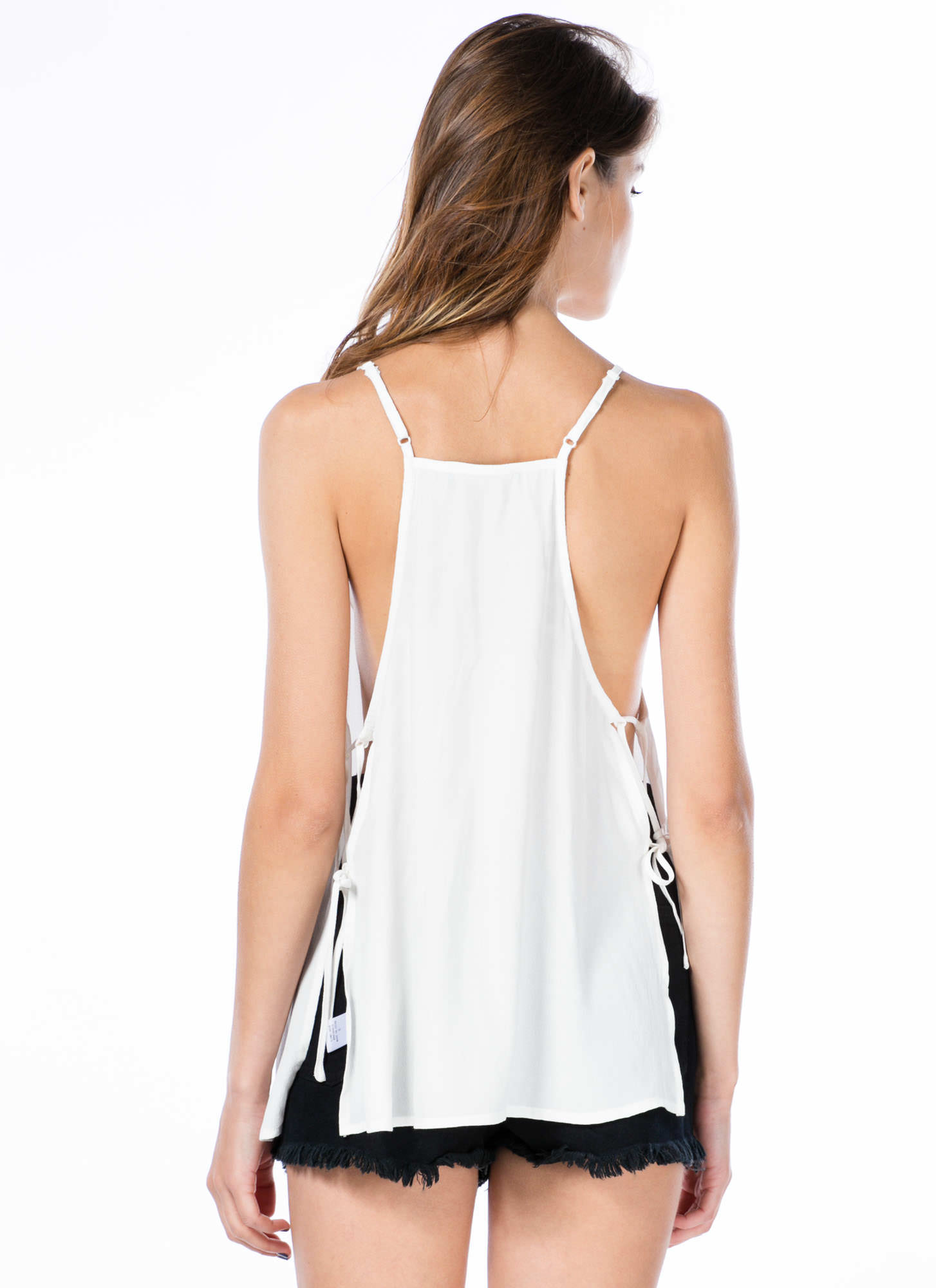 Taking Sides Laced Cami Swing Tank WHITE