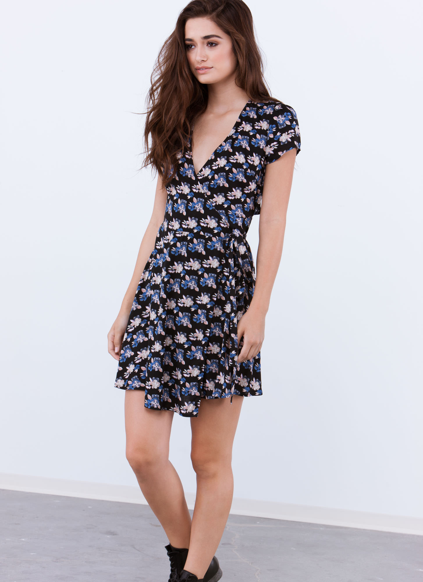 All Tied Up Floral Cut-Out Wrap Dress BLACK