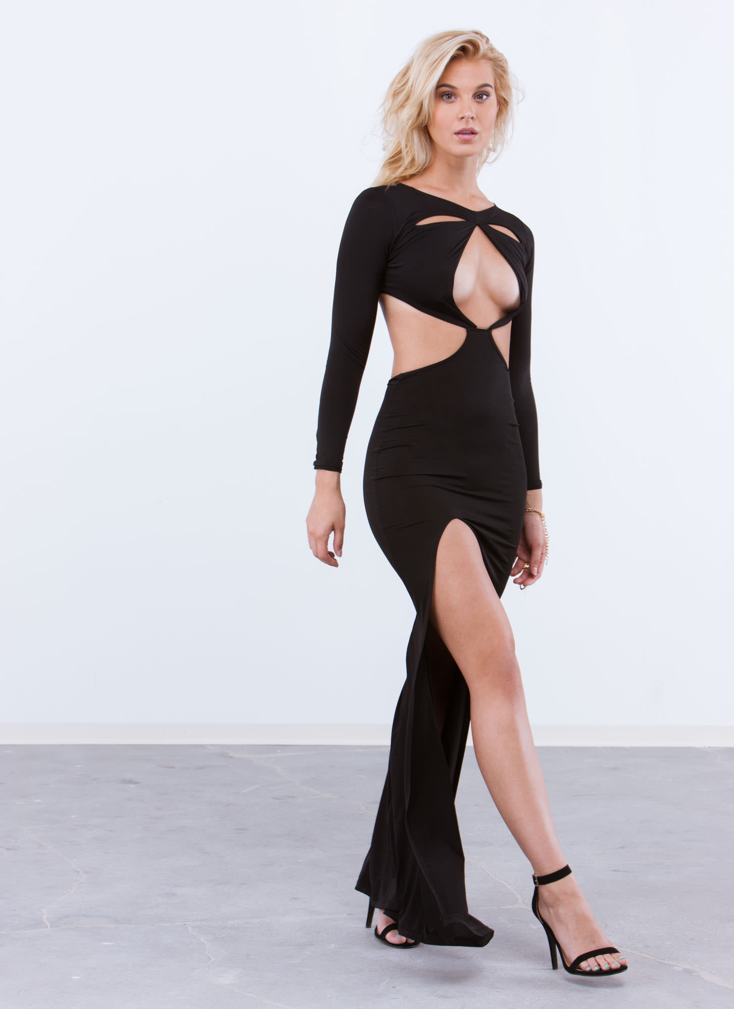 Can You Cut It Out Open Back Maxi BLACK