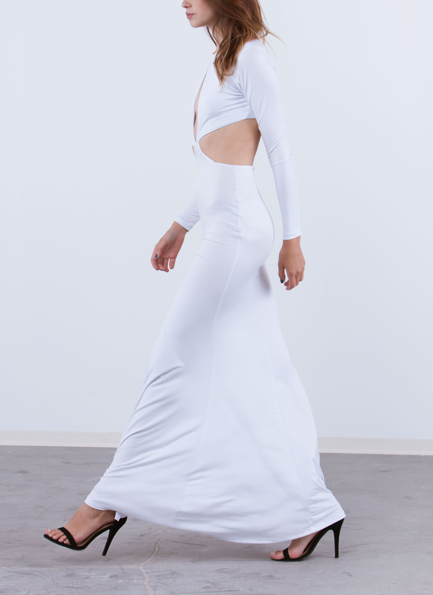 Can You Cut It Out Open Back Maxi WHITE