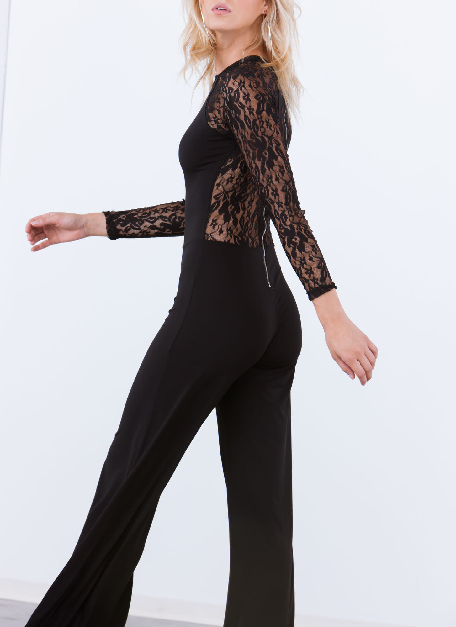 Lacy In Love Sheer Back Palazzo Jumpsuit BLACK