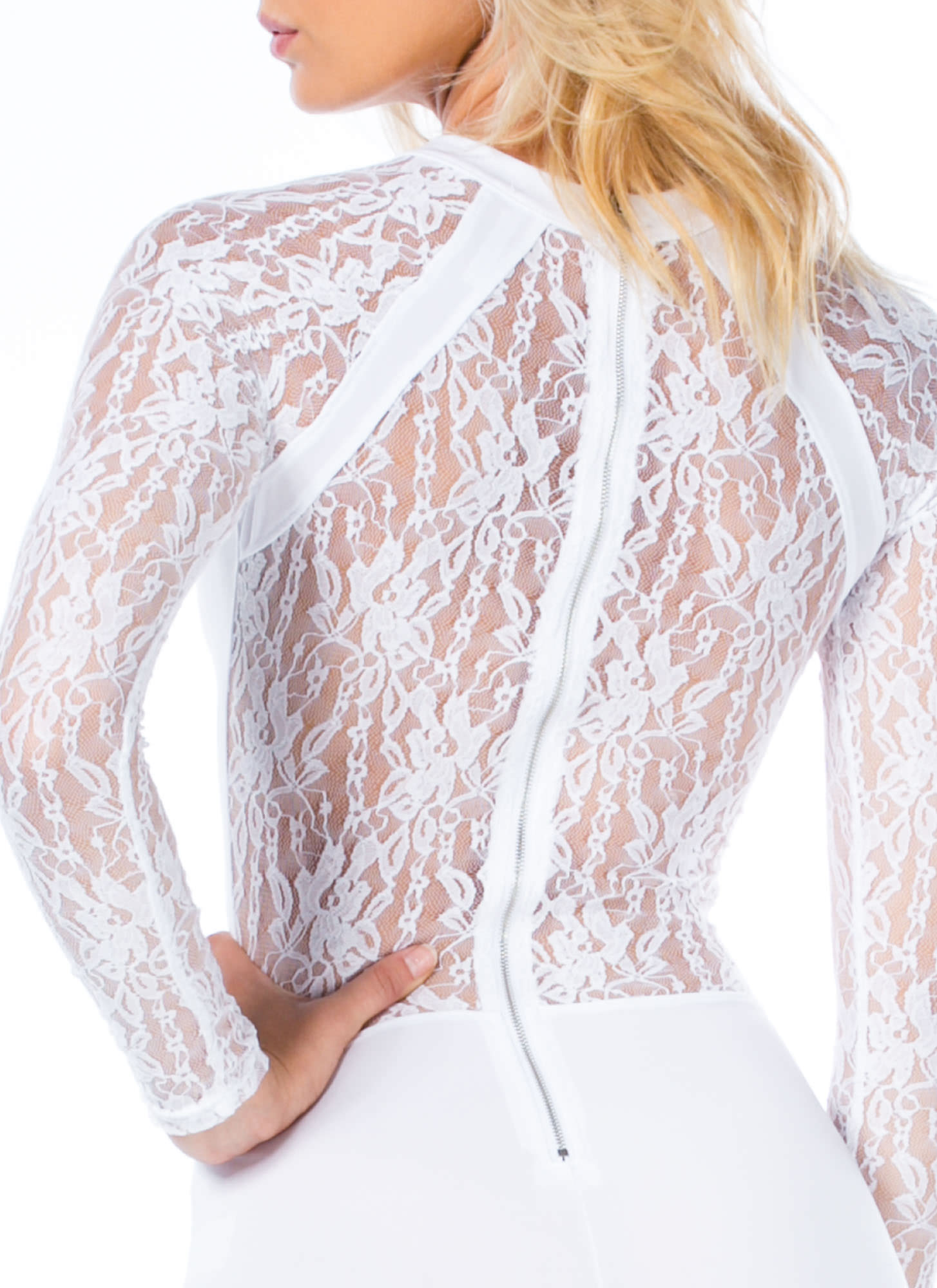 Lacy In Love Sheer Back Palazzo Jumpsuit WHITE